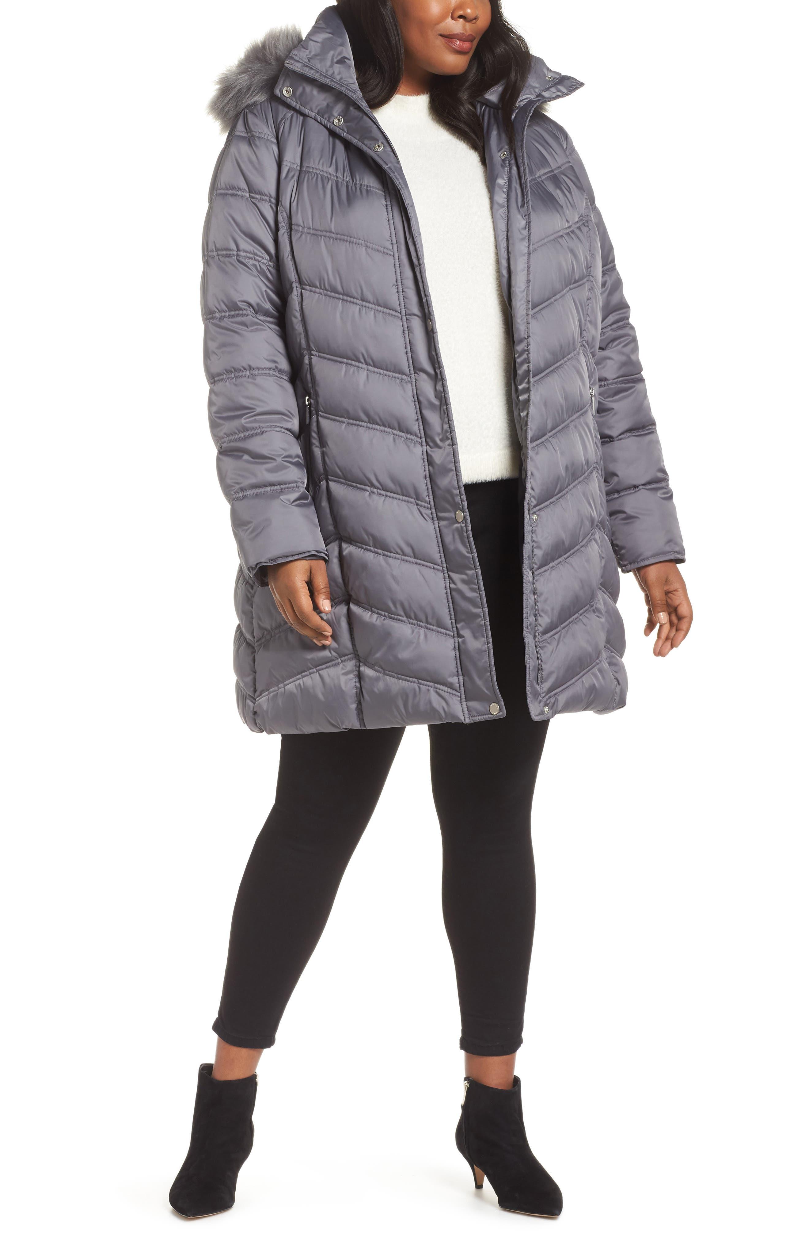 Faux Fur Trim Puffer Jacket, Main, color, 085
