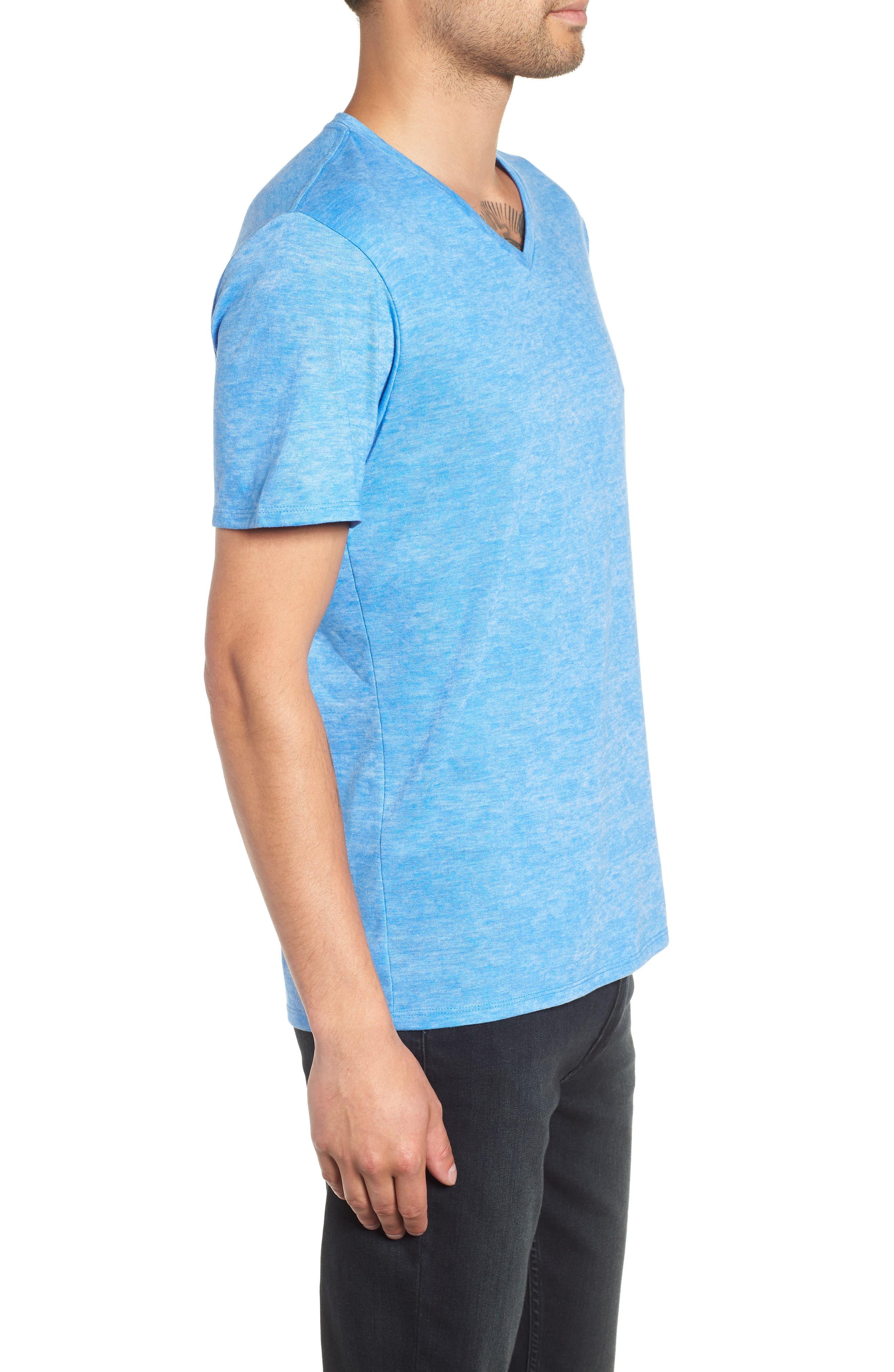 Burnout V-Neck T-Shirt,                             Alternate thumbnail 3, color,                             BLUE BLISS- WHITE BURNOUT