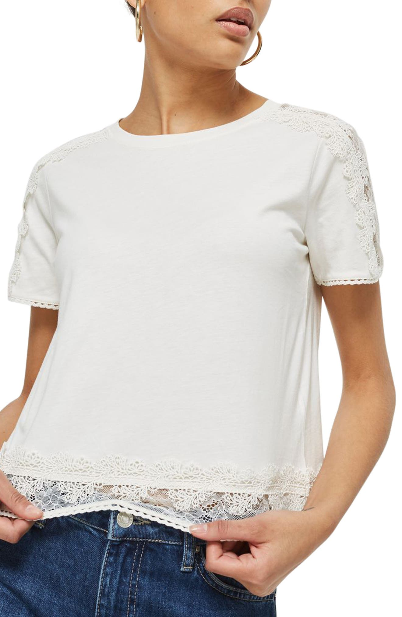 TOPSHOP,                             Lace Trim Tee,                             Main thumbnail 1, color,                             900