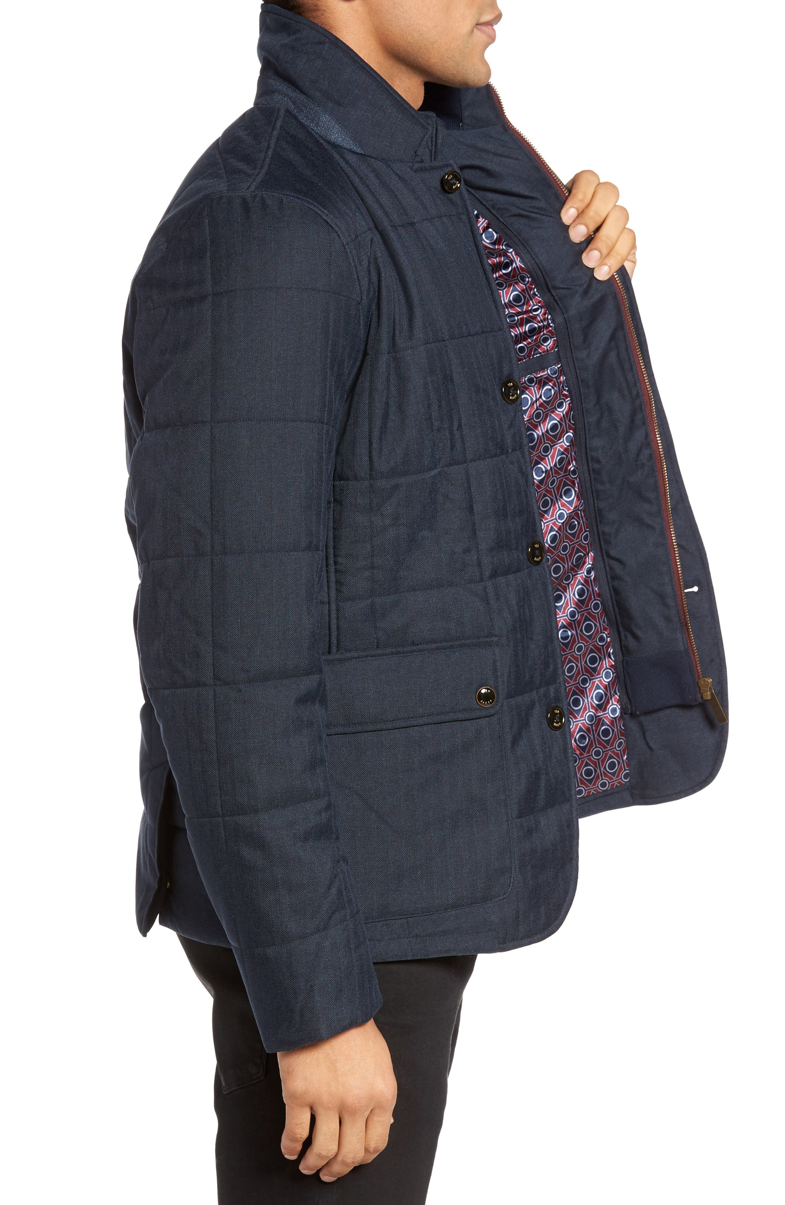 Jasper Trim Fit Quilted Jacket with Removable Bib,                             Alternate thumbnail 8, color,