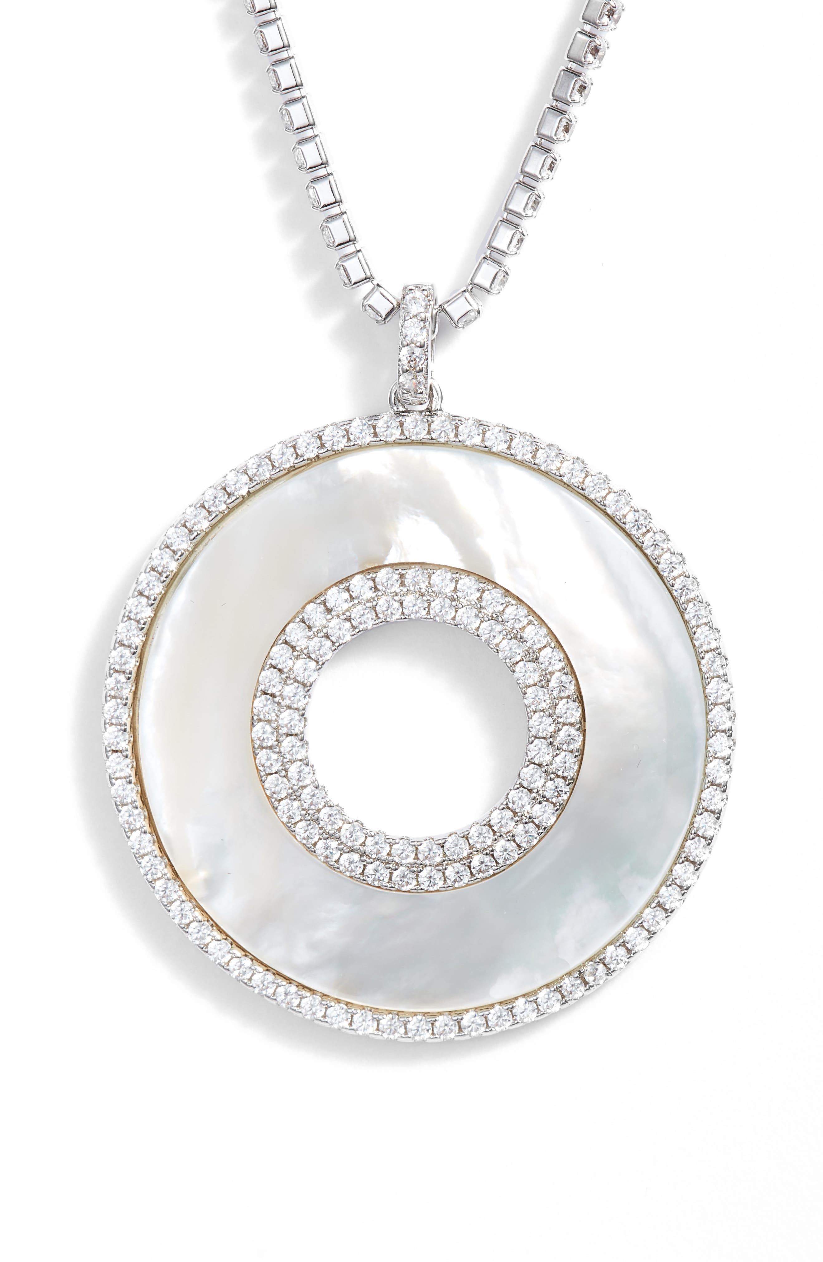 Mother-of-Pearl Pendant Necklace,                             Alternate thumbnail 3, color,                             MOTHER OF PEARL/ SILVER