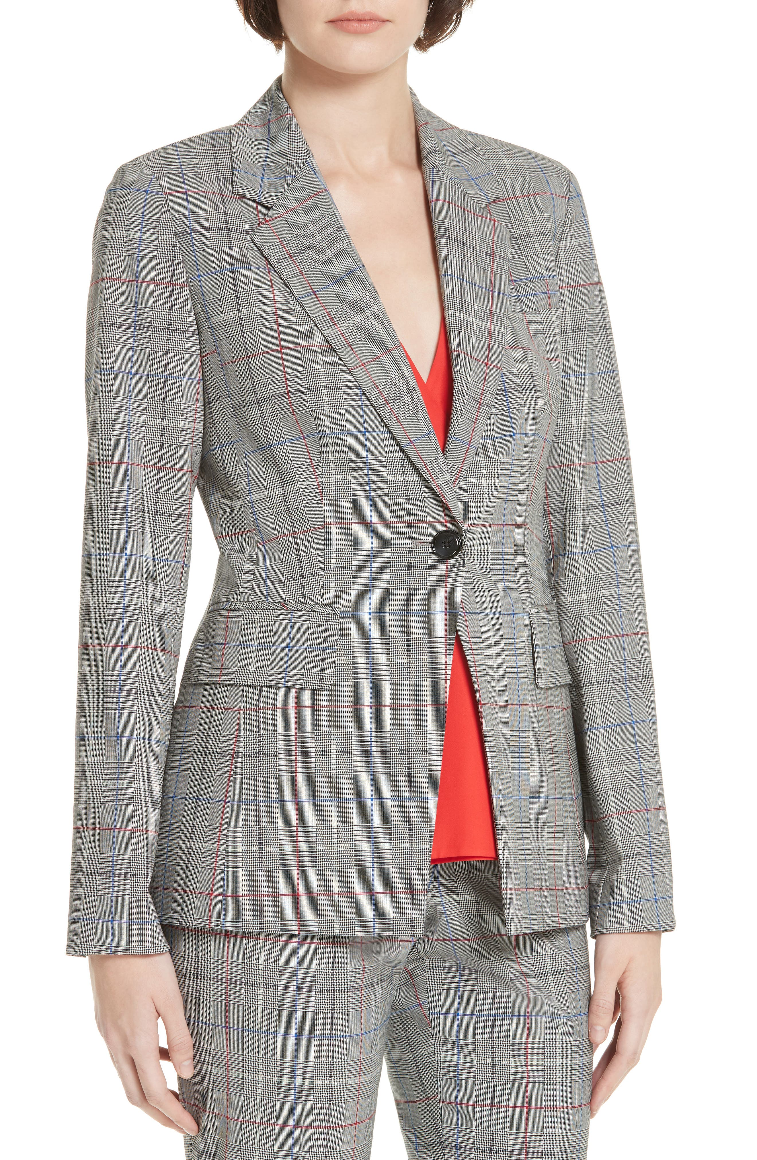 LEWIT,                             Check Stretch Wool Blazer,                             Alternate thumbnail 4, color,                             001