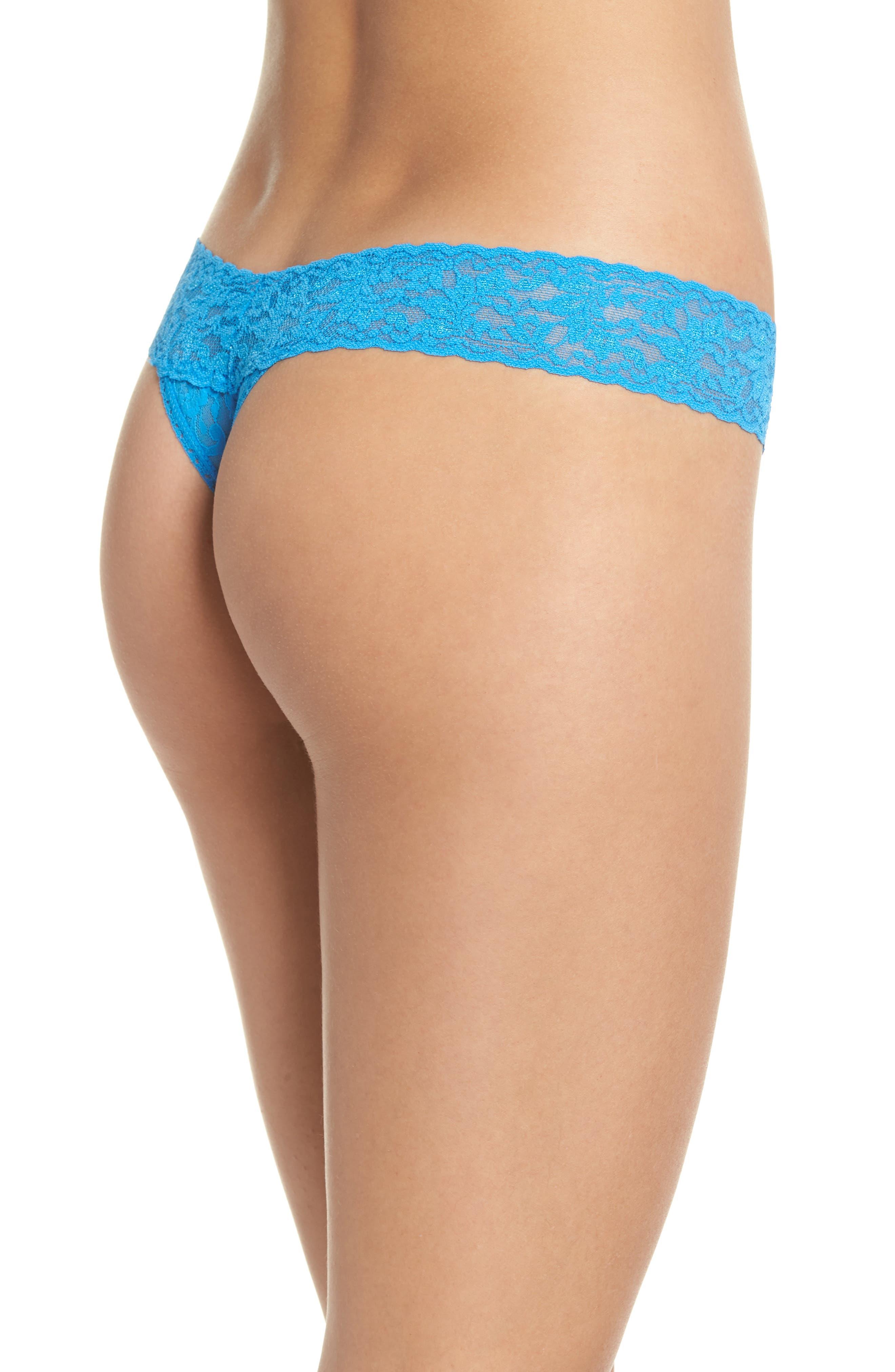 Signature Lace Low Rise Thong,                             Alternate thumbnail 2, color,                             LAGUNA BLUE