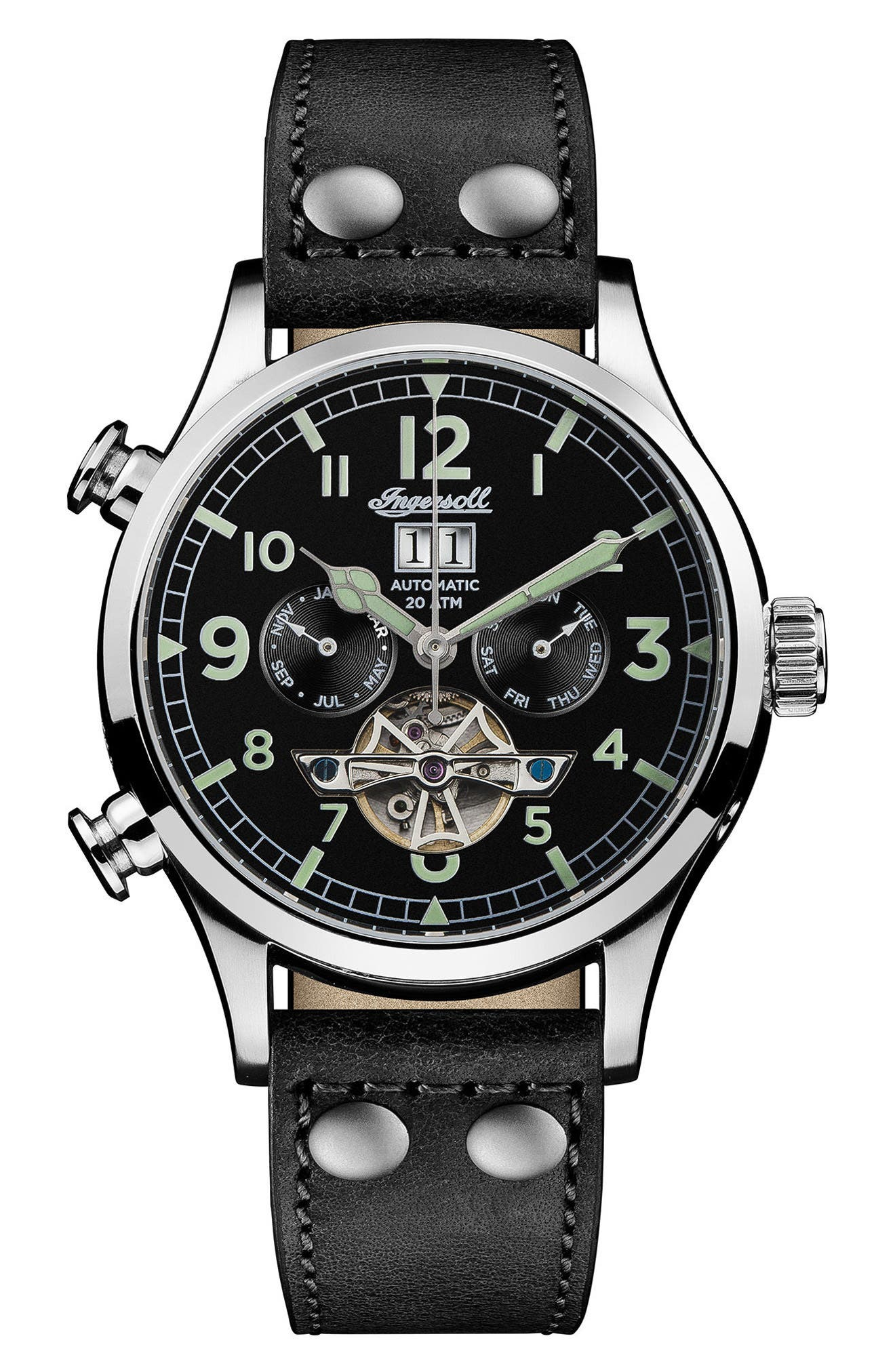 Ingersoll Armstrong Automatic Chronograph Leather Strap Watch, 46mm,                             Main thumbnail 1, color,                             002