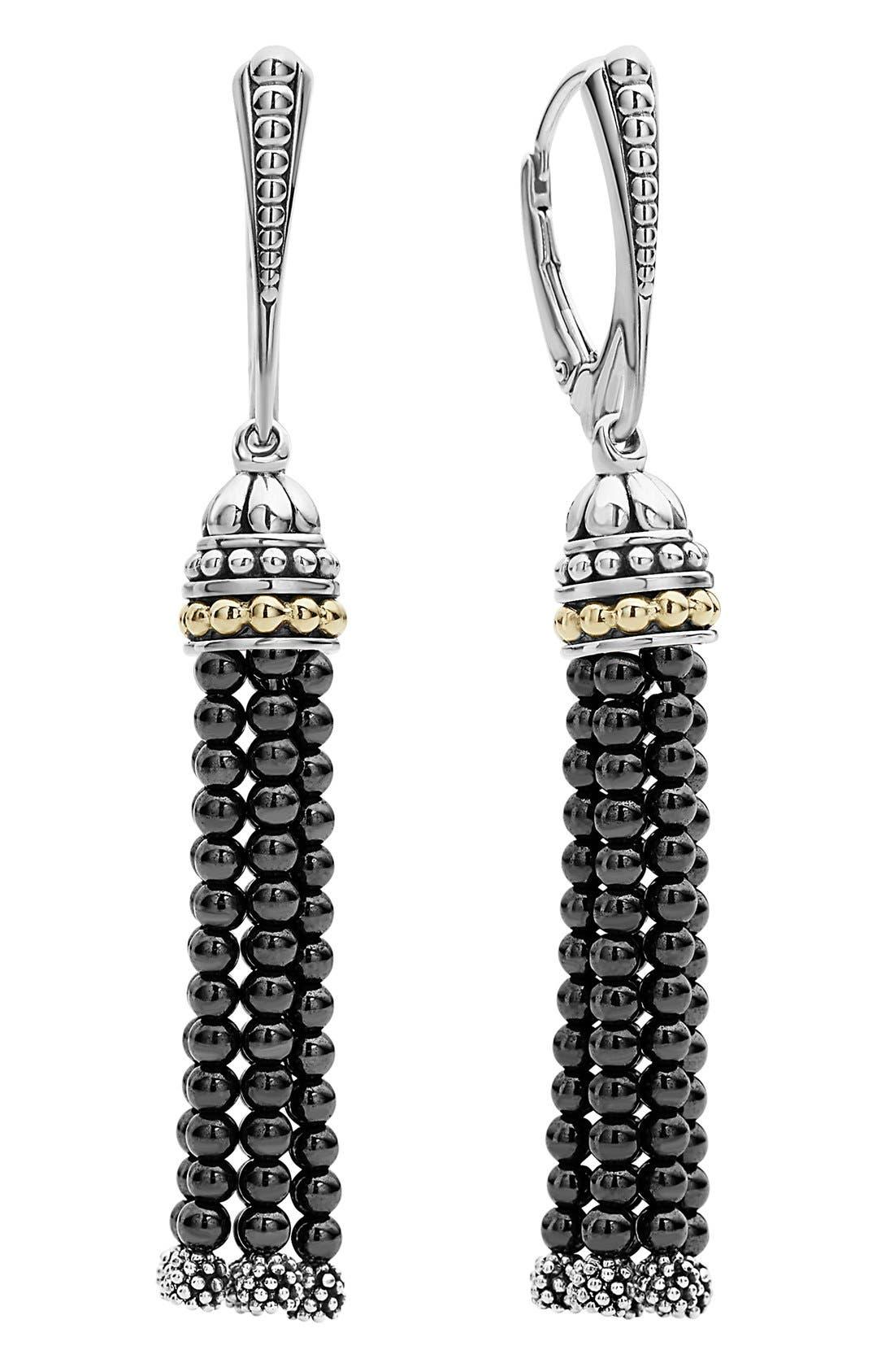 Caviar Icon Tassel Drop Earrings,                             Alternate thumbnail 2, color,                             HEMATITE/ SILVER/ GOLD