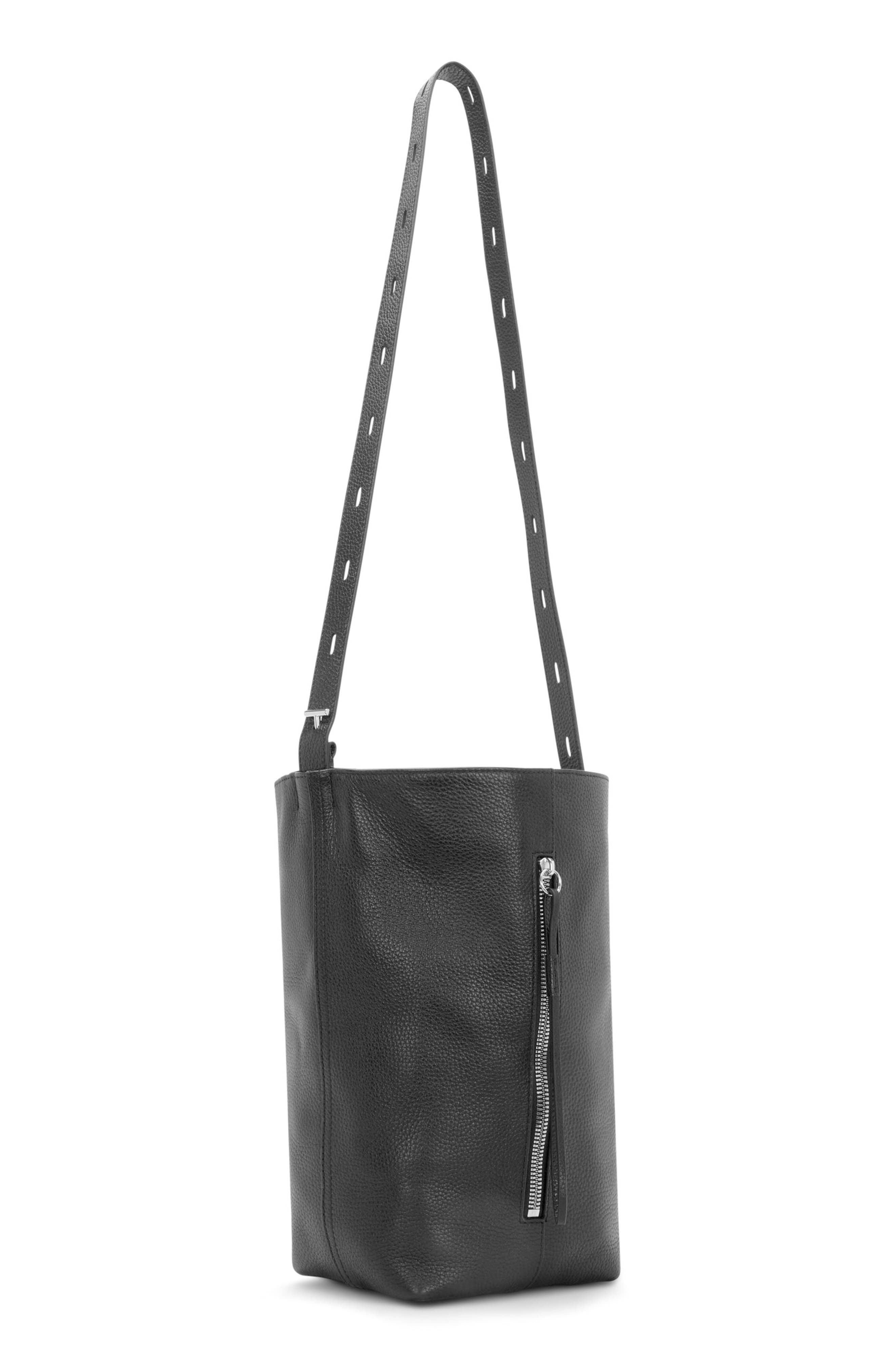 Pebbled Leather Panel Pail Convertible Leather Bucket Bag,                             Alternate thumbnail 9, color,                             001