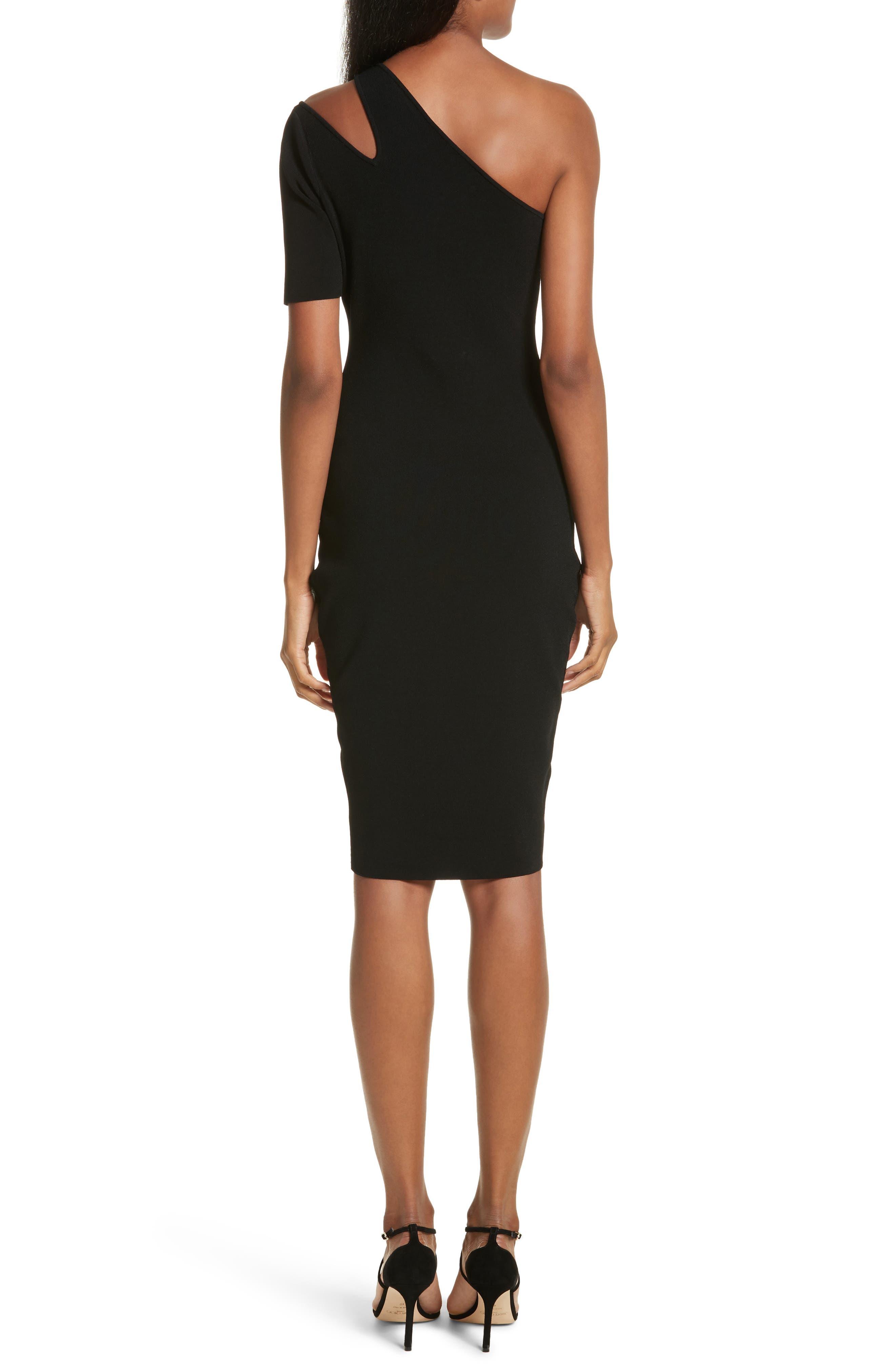 Sliced One-Shoulder Sheath Dress,                             Alternate thumbnail 2, color,                             001