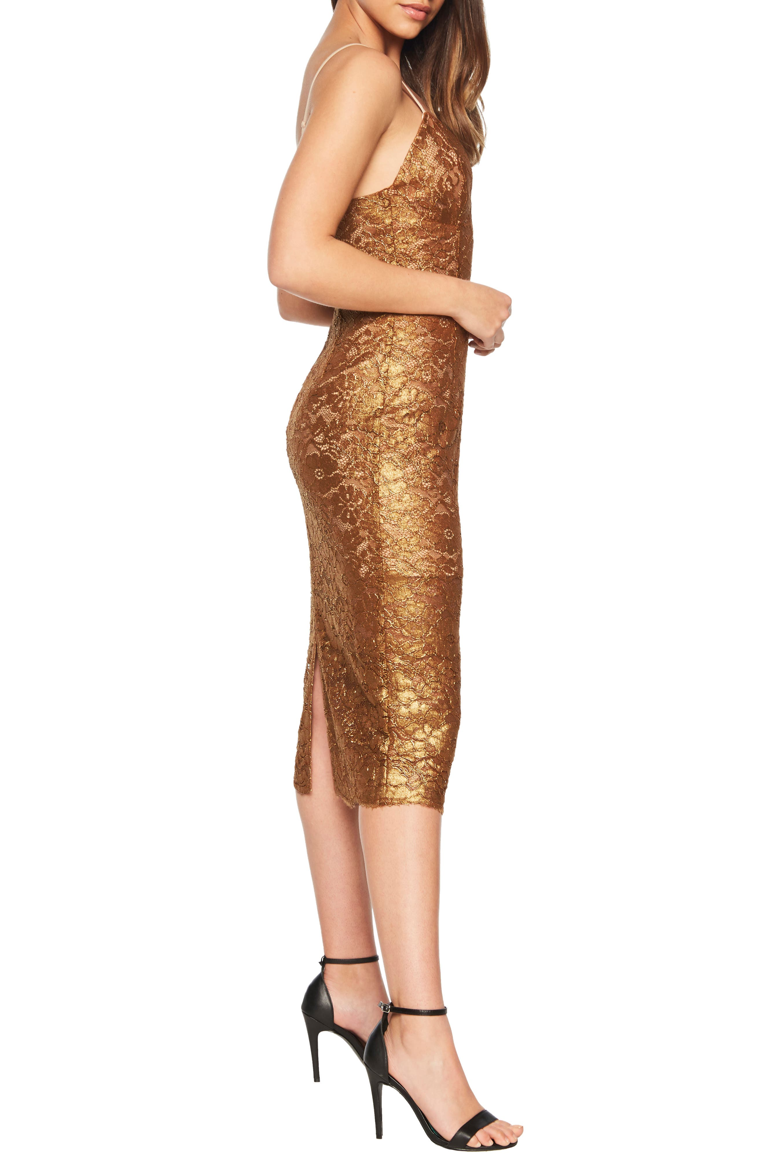 Metallic Lace Midi Sheath Dress,                             Alternate thumbnail 3, color,                             SOFT GOLD