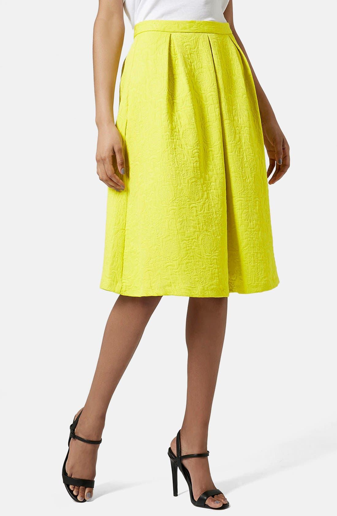 Pleated Jacquard Midi Skirt,                         Main,                         color, 700