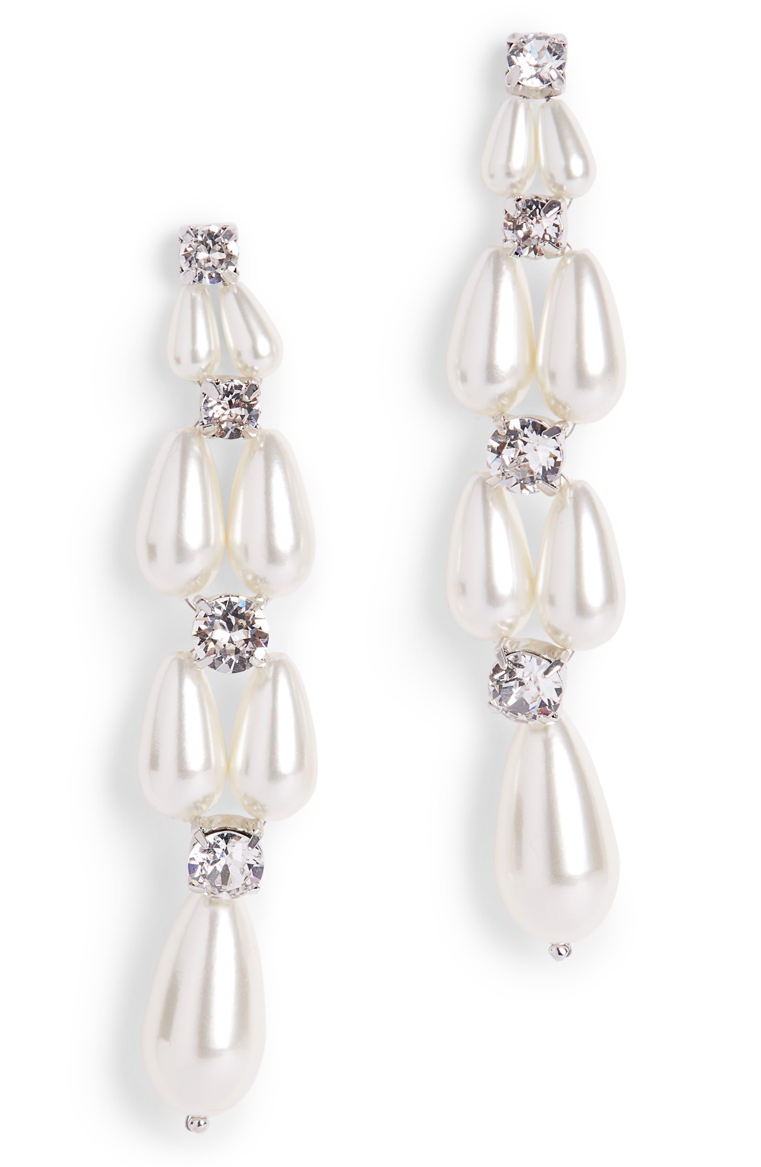 Imitation Pearl Drop Earrings,                         Main,                         color, 900