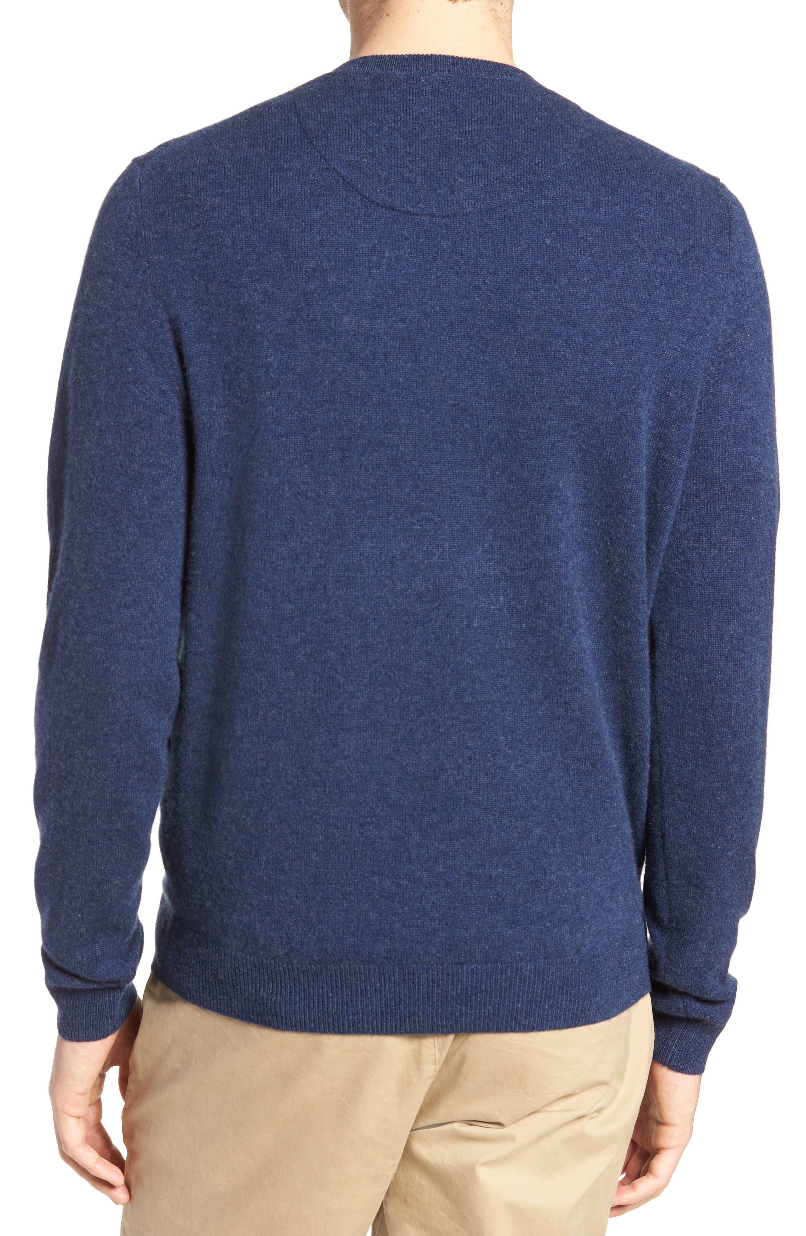 Cashmere V-Neck Sweater,                             Alternate thumbnail 2, color,                             BLUE ESTATE HEATHER