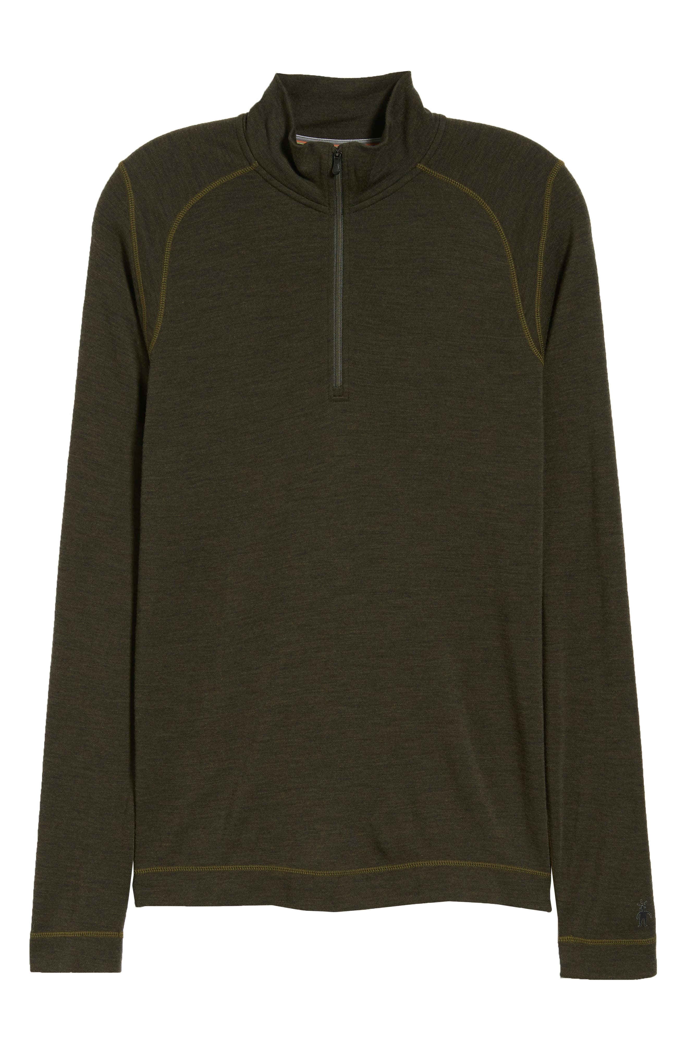 Merino 250 Base Layer Quarter Zip Pullover,                             Alternate thumbnail 6, color,                             OLIVE HEATHER