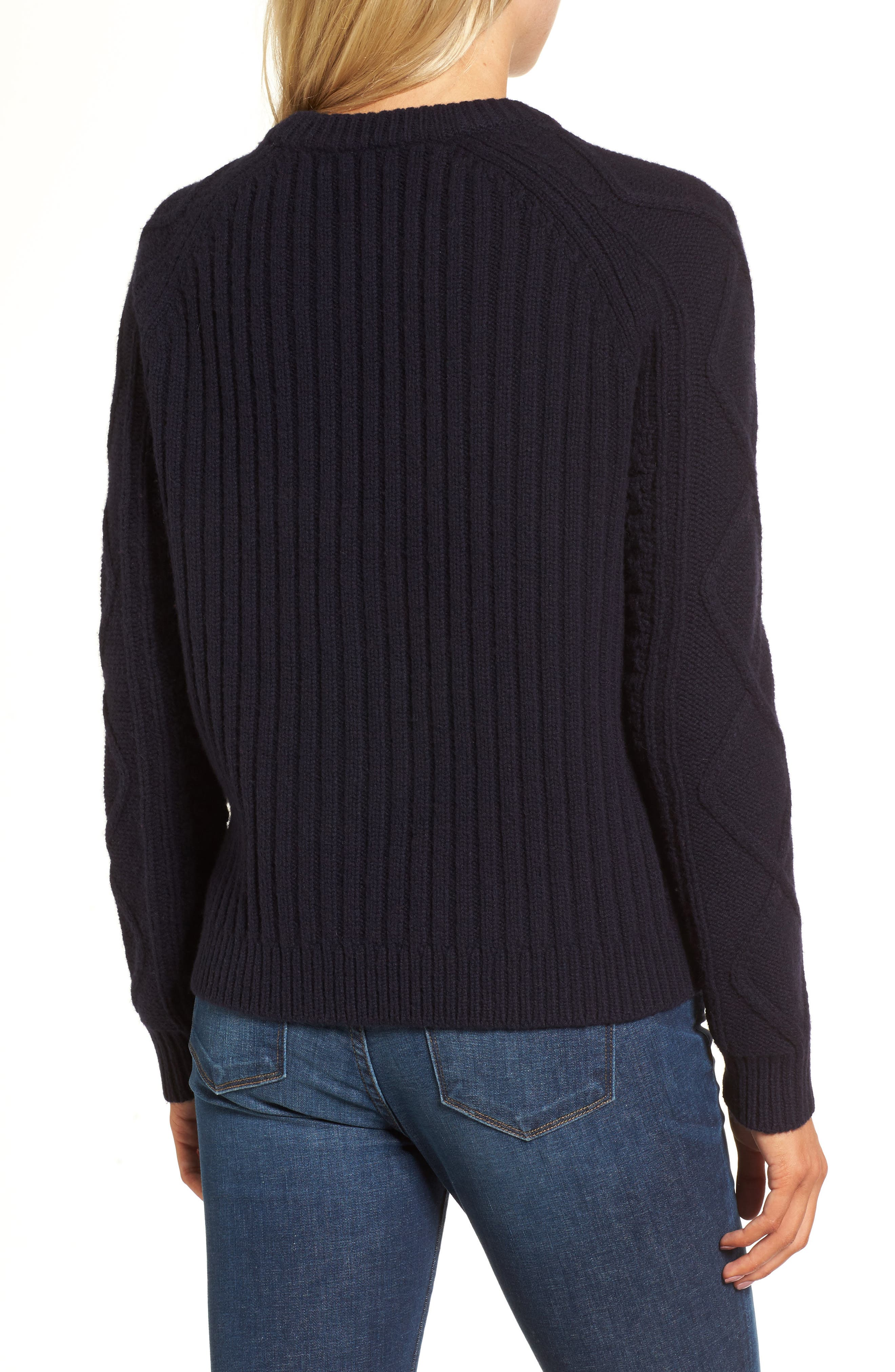 Merino Wool Cable Pompom Sweater,                             Alternate thumbnail 2, color,                             402