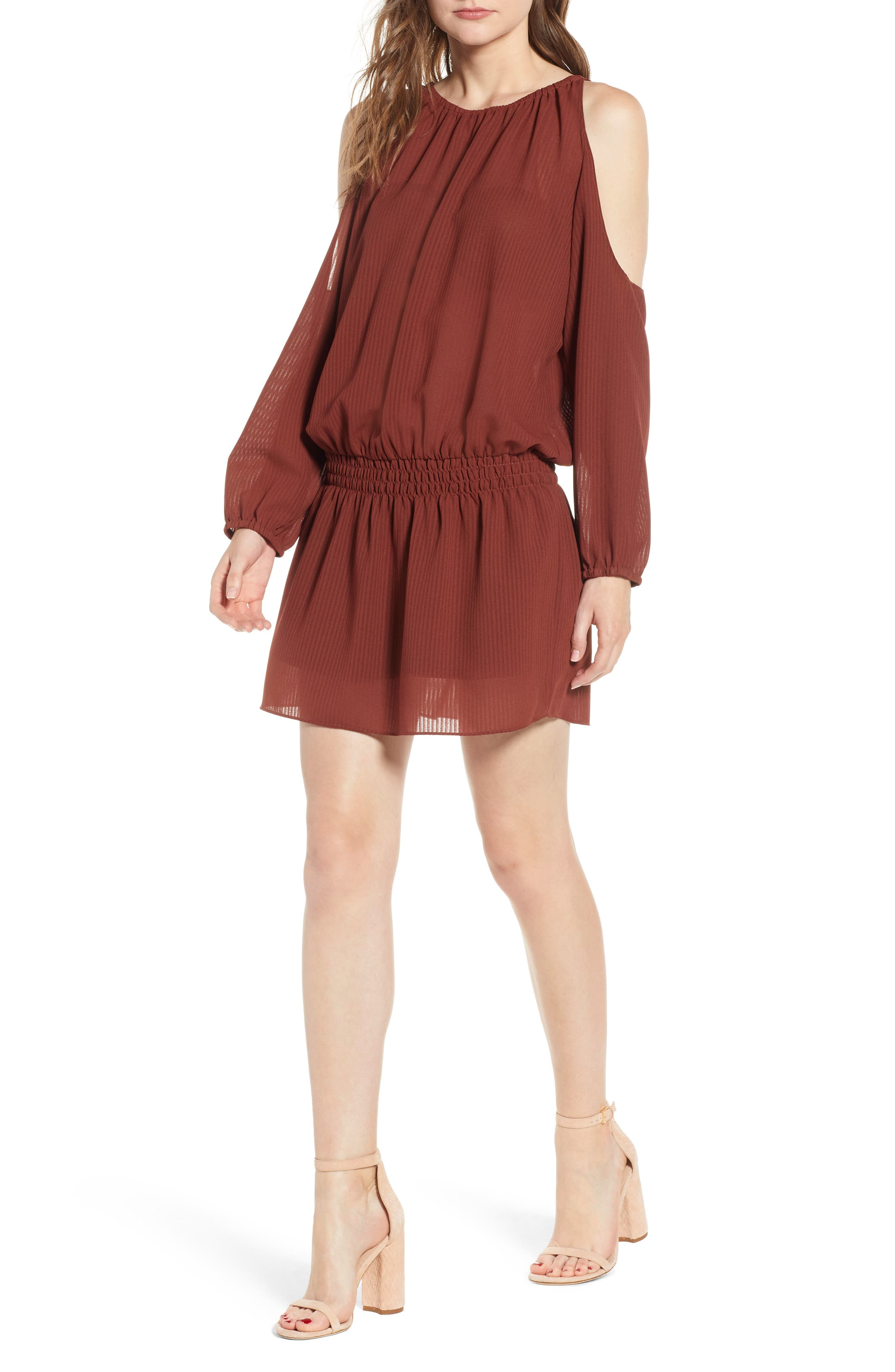 Bishop + Young Cold Shoulder Blouson Minidress,                         Main,                         color, RUST
