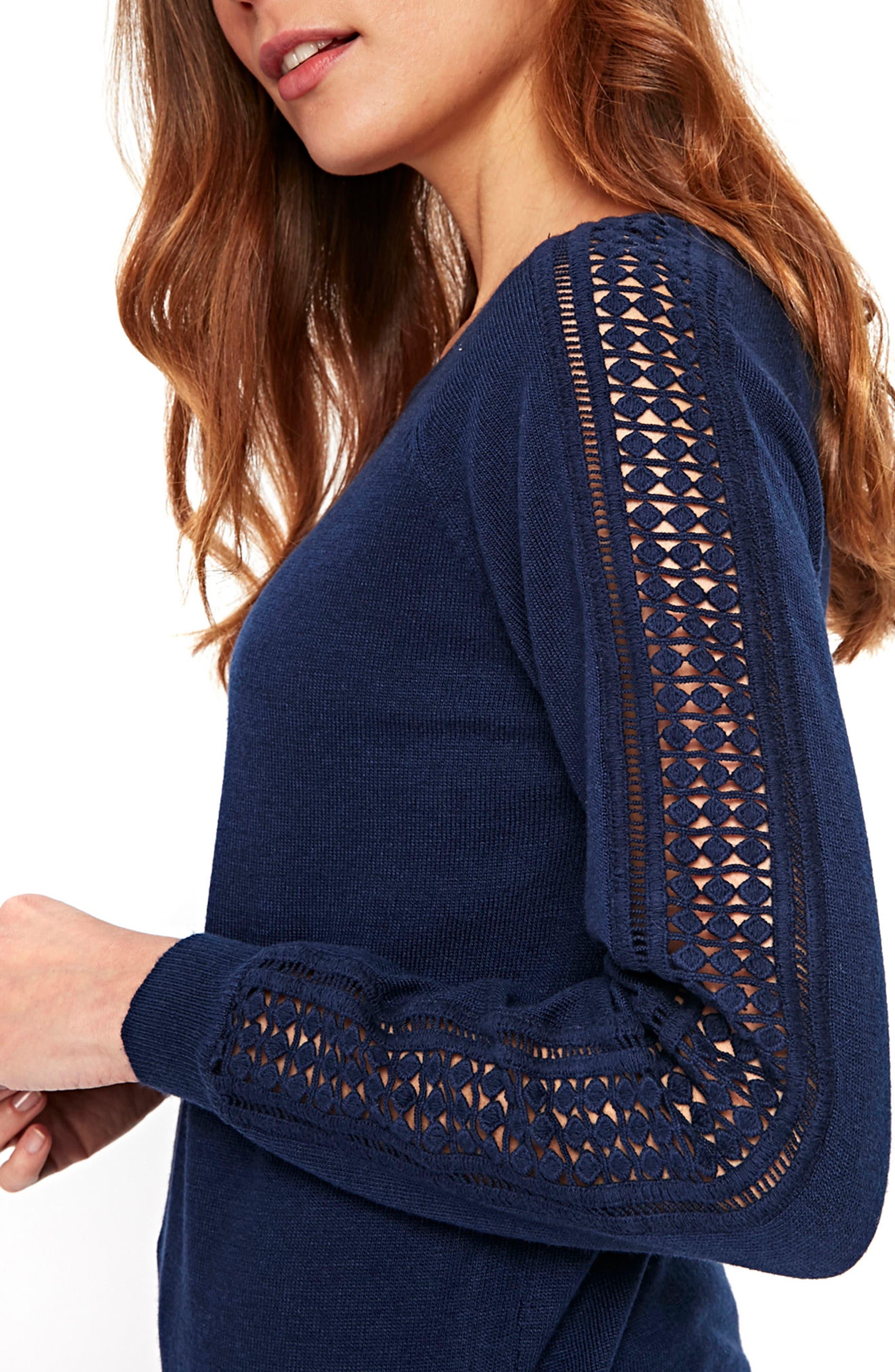 Lace Trim Sweater,                             Alternate thumbnail 4, color,                             400