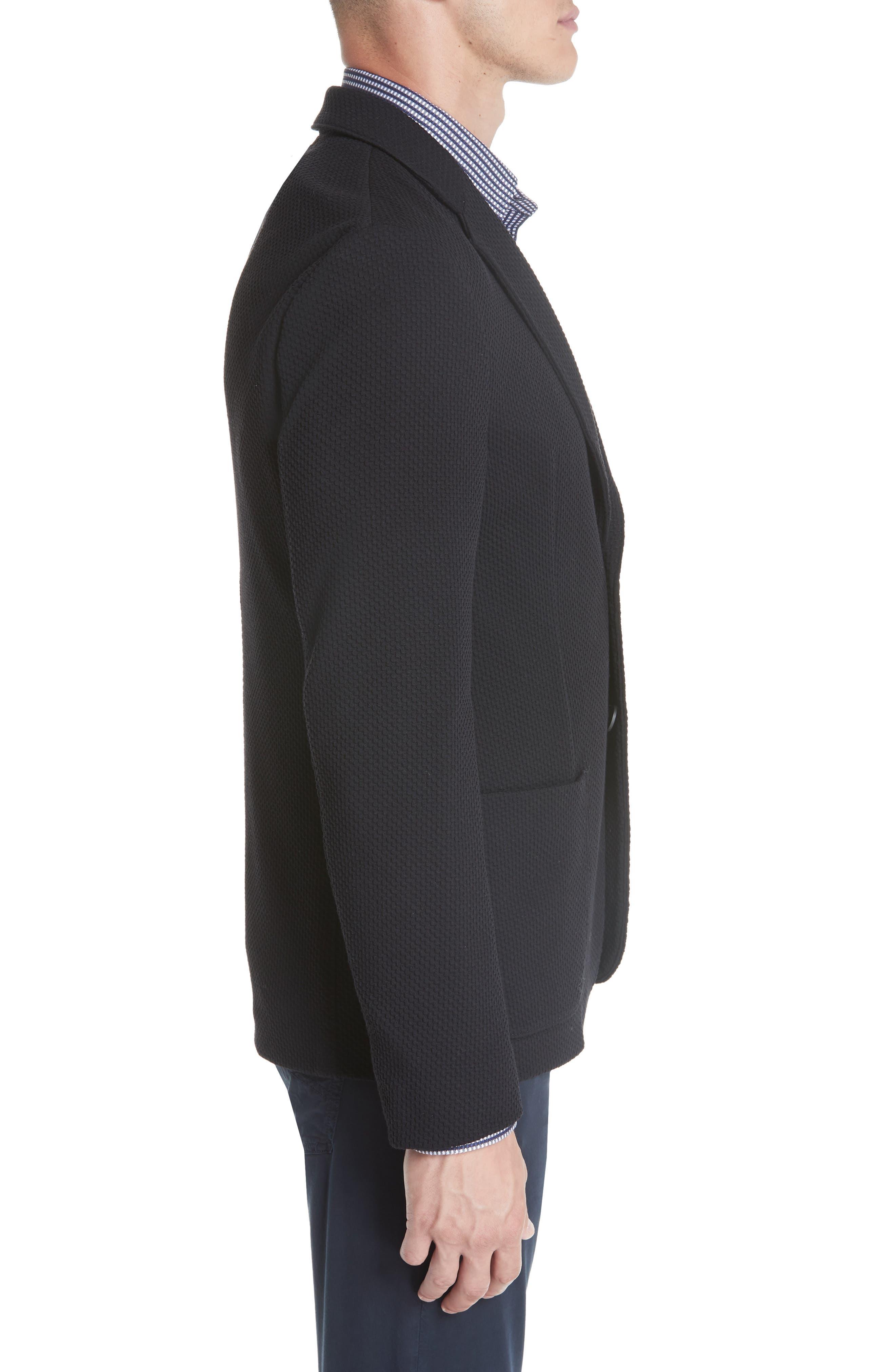 Slim Fit Stretch Cotton Blend Sport Coat,                             Alternate thumbnail 3, color,                             BLACK