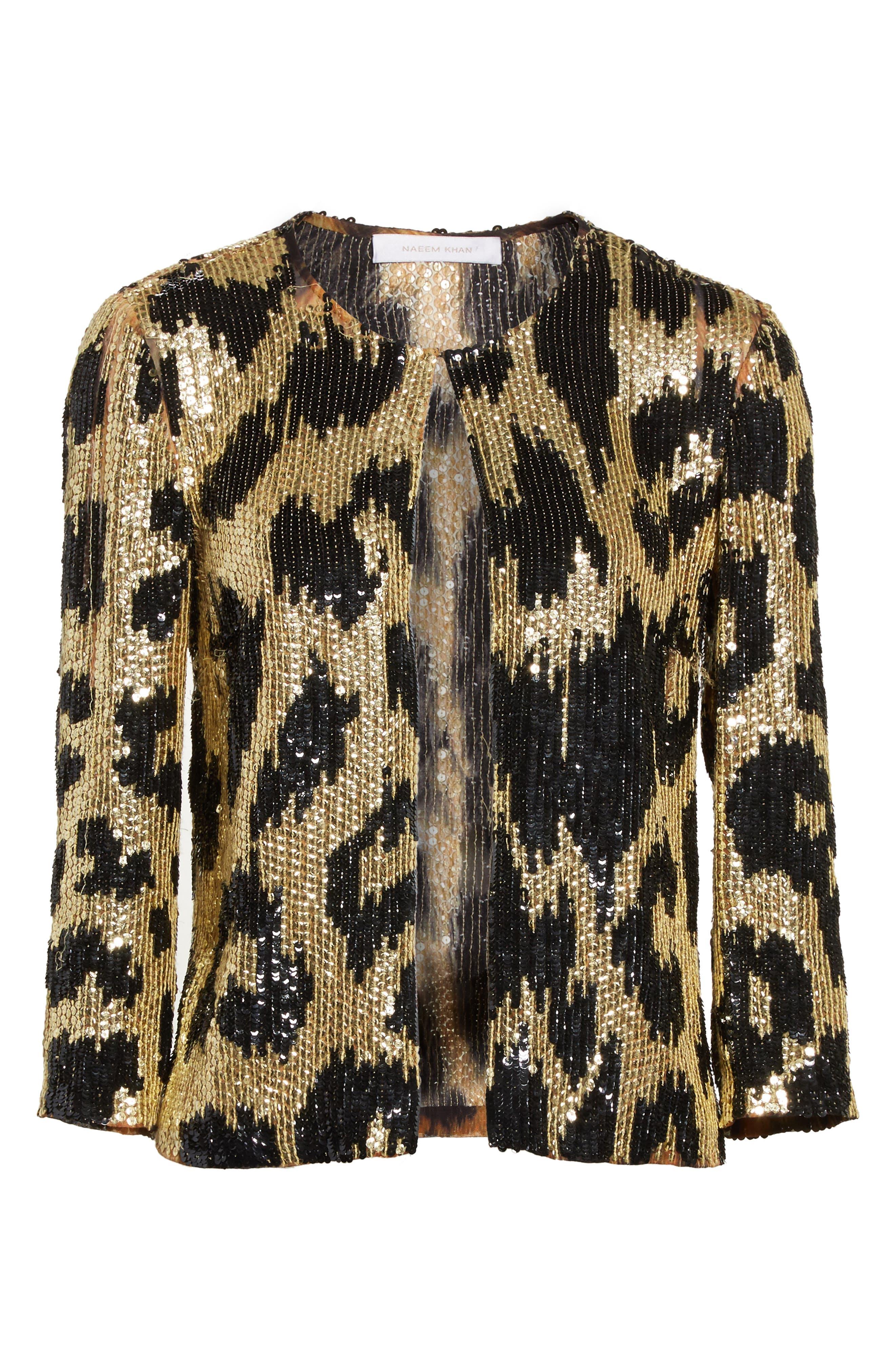 Cheetah Print Sequin Jacket,                             Alternate thumbnail 5, color,                             710