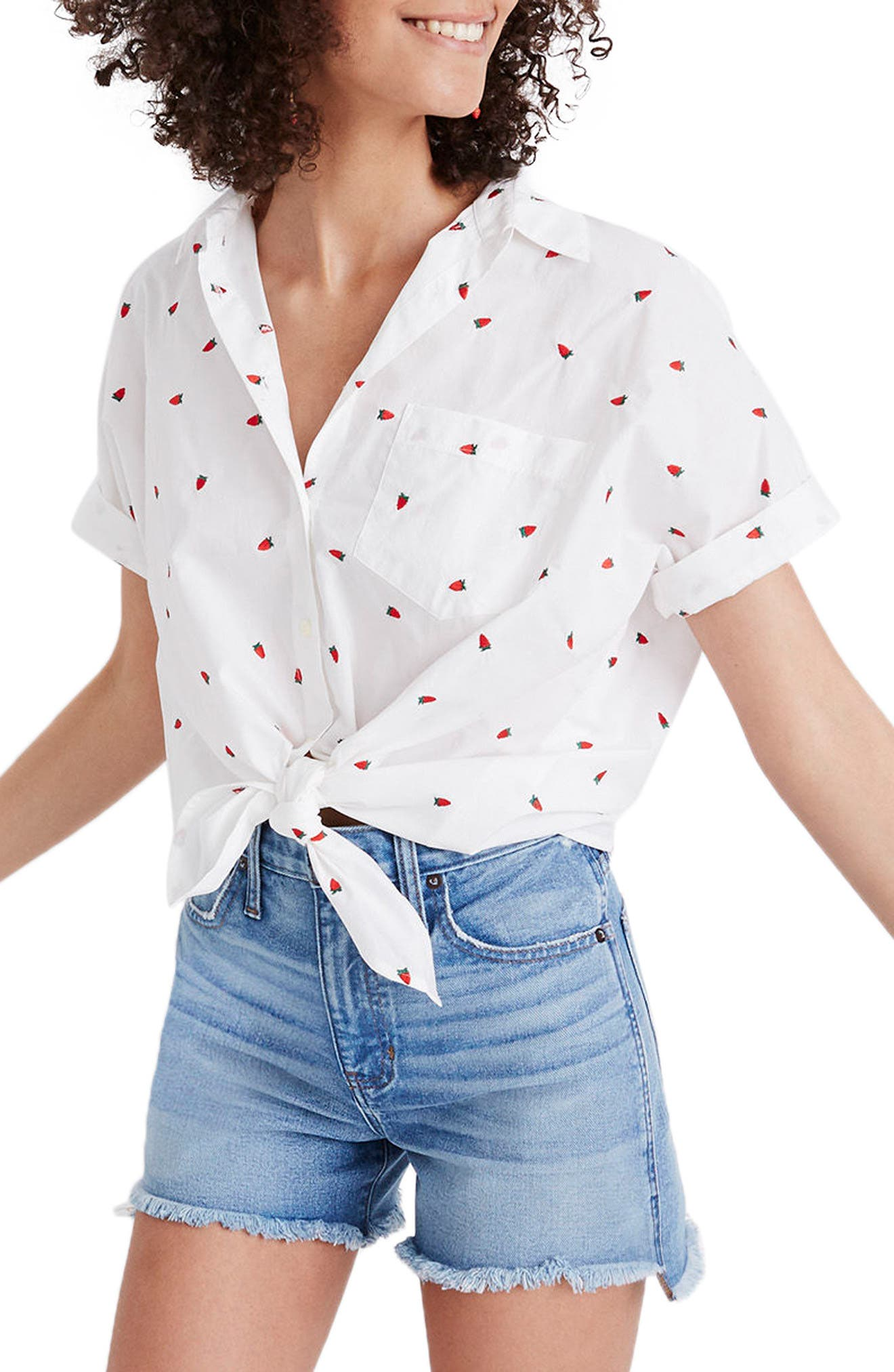 MADEWELL Strawberry Embroidered Tie Front Shirt, Main, color, 100