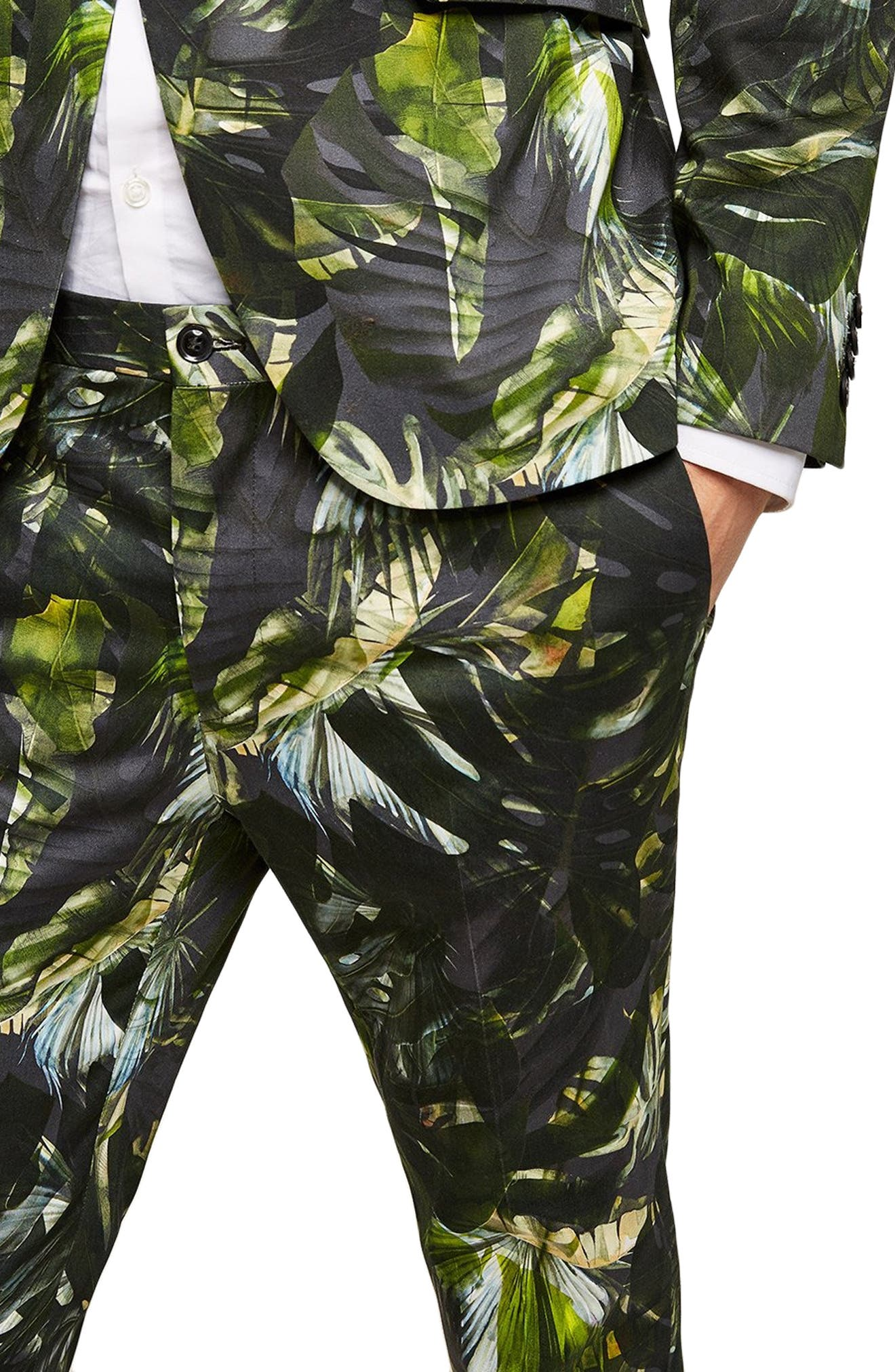 Palm Print Ultra Skinny Smart Pants,                             Alternate thumbnail 3, color,                             300