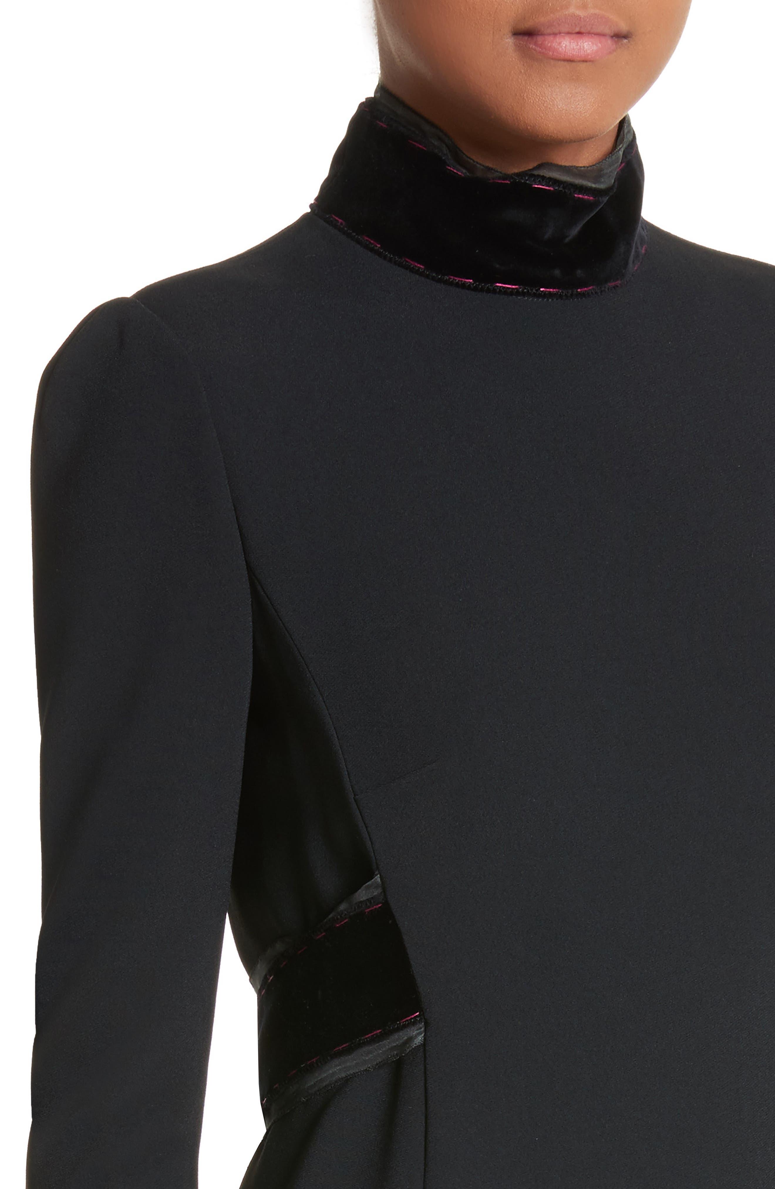 Velvet Trim Cady Turtleneck Dress,                             Alternate thumbnail 4, color,                             001