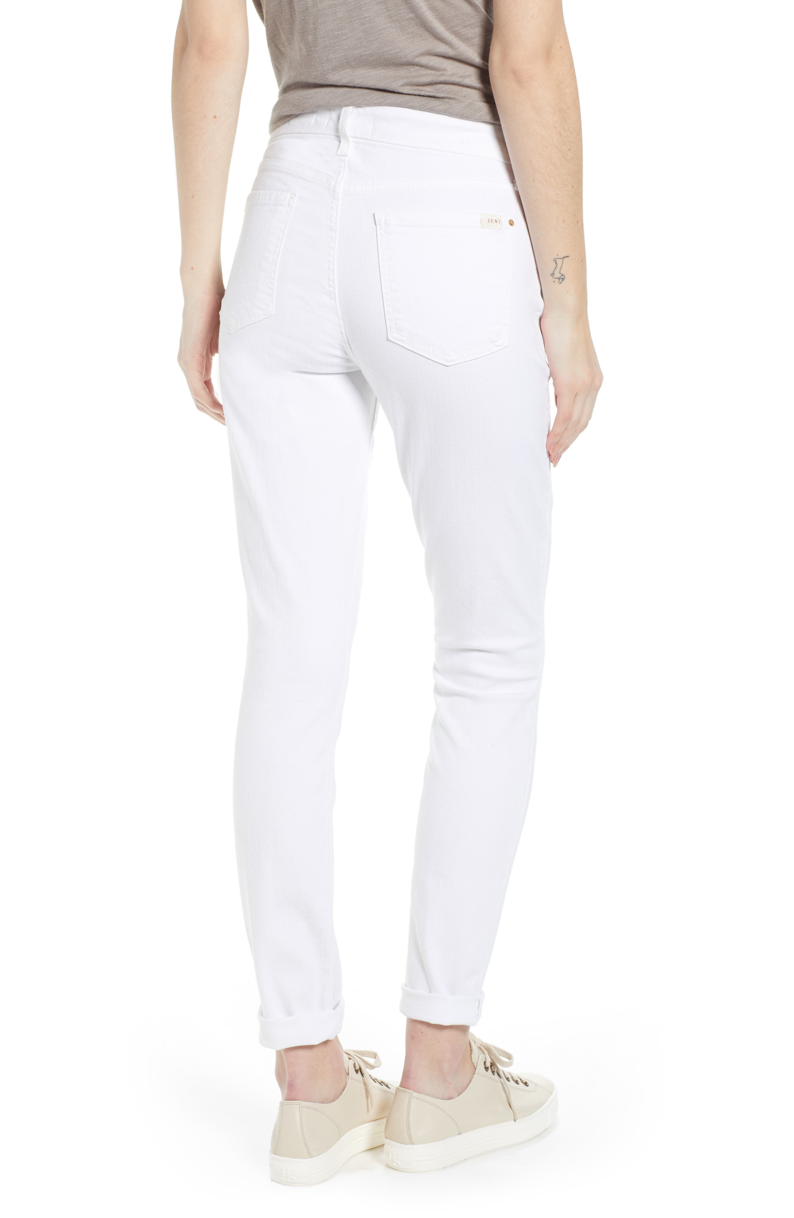 JEN7 BY 7 FOR ALL MANKIND,                             Stretch Skinny Jeans,                             Alternate thumbnail 2, color,                             WHITE