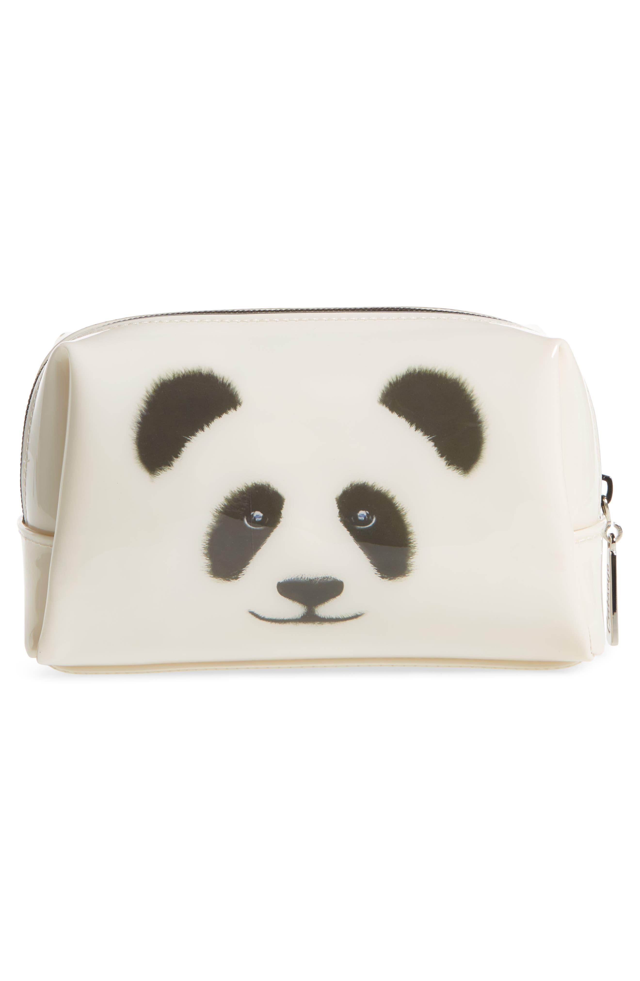 Monochrome Panda Cosmetics Bag,                             Alternate thumbnail 2, color,                             101