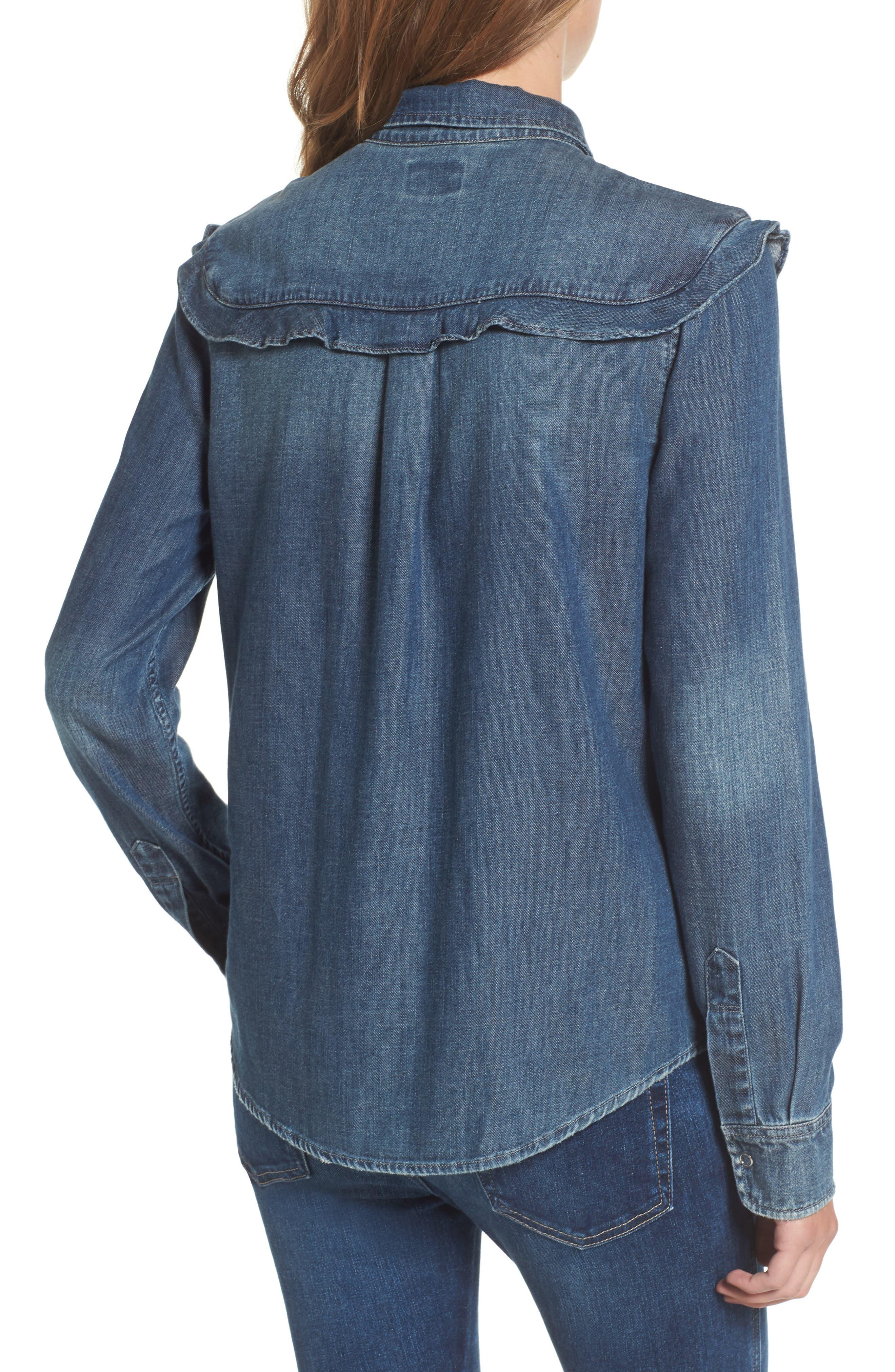 Joanna Ruffle Denim Shirt,                             Alternate thumbnail 2, color,                             412