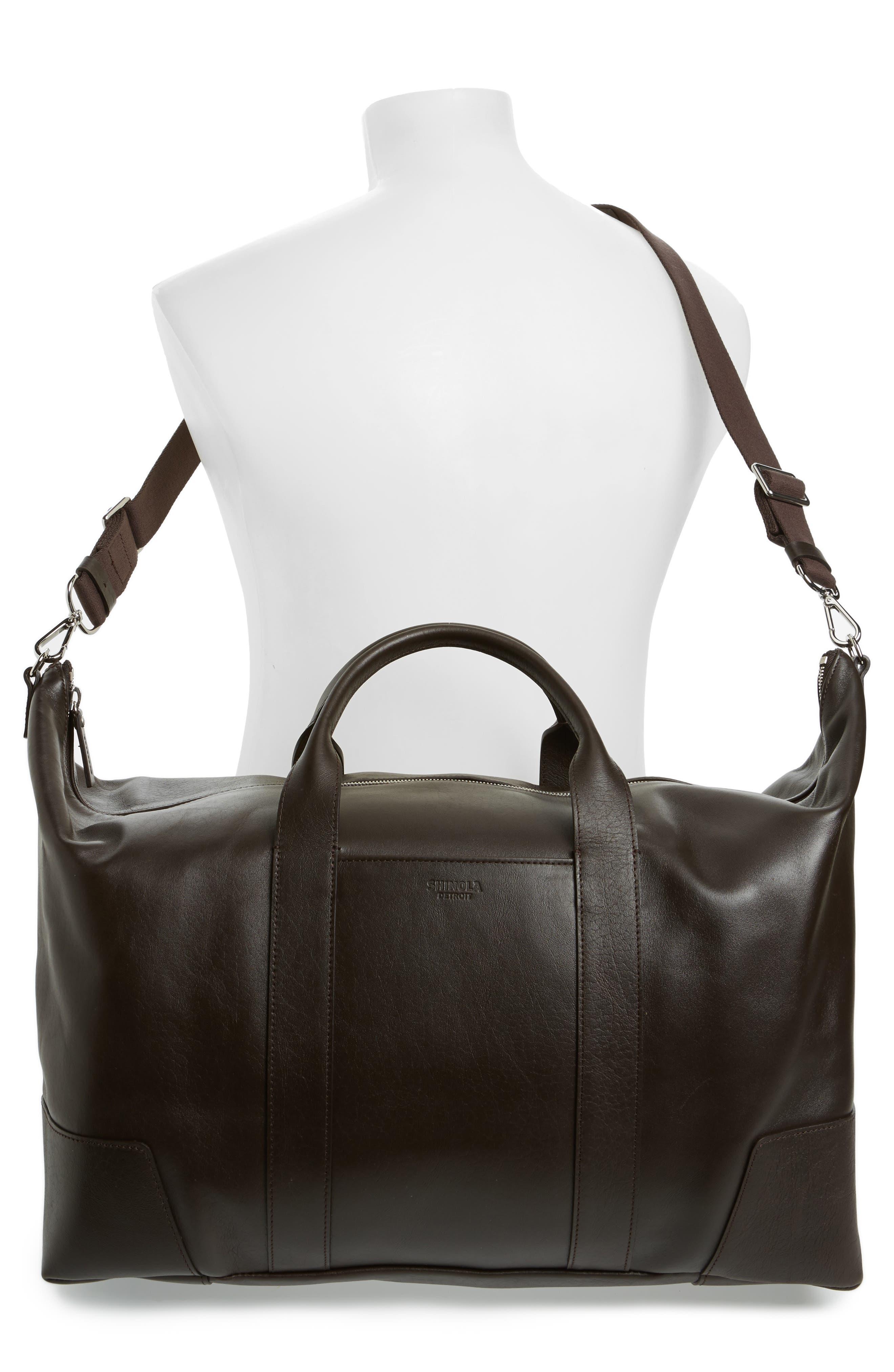 Signature Leather Duffel Bag,                             Alternate thumbnail 2, color,                             DEEP BROWN