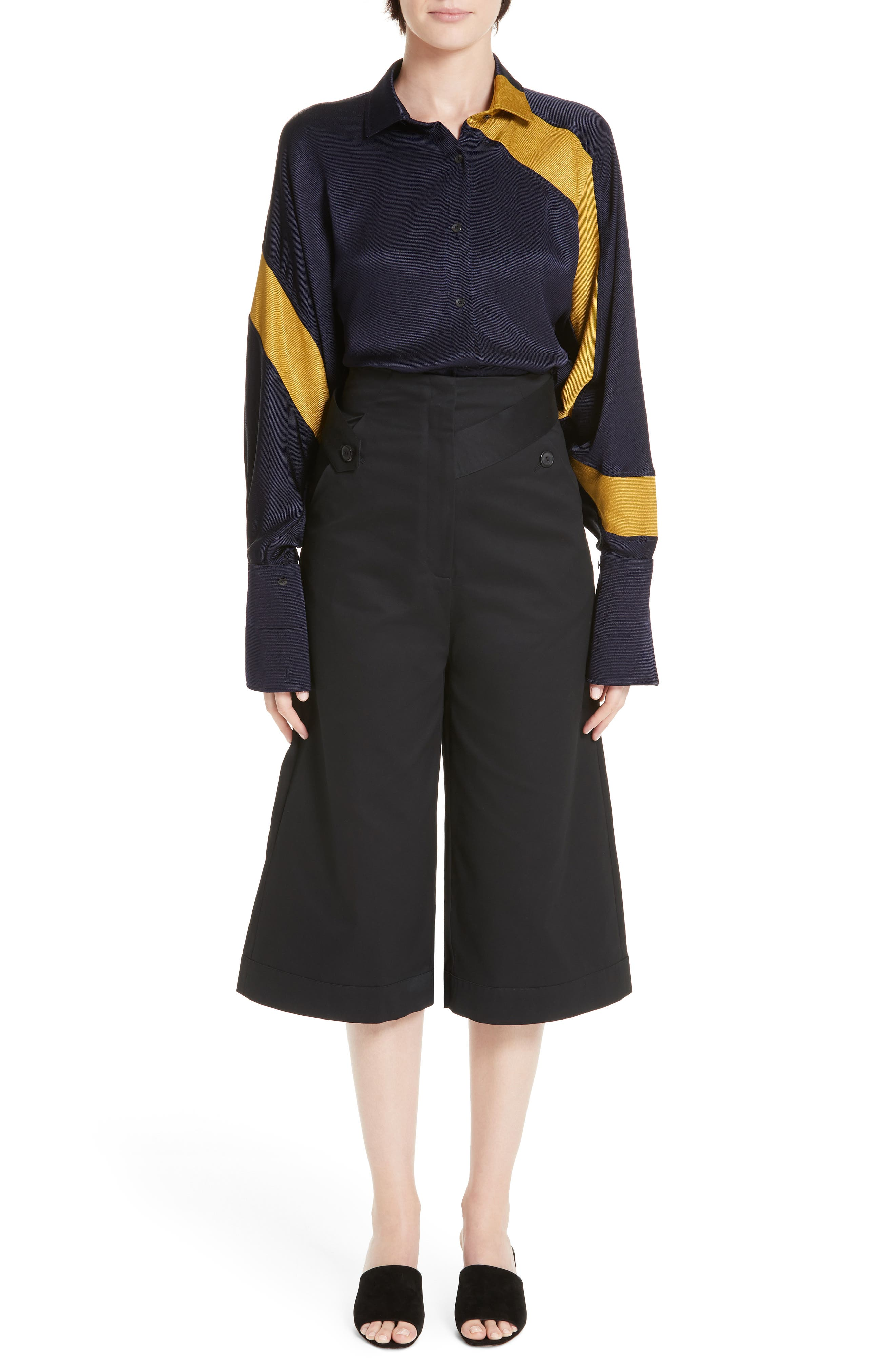 Palmer Harding Distorted Culottes,                             Alternate thumbnail 7, color,                             BLACK COTTON TWILL