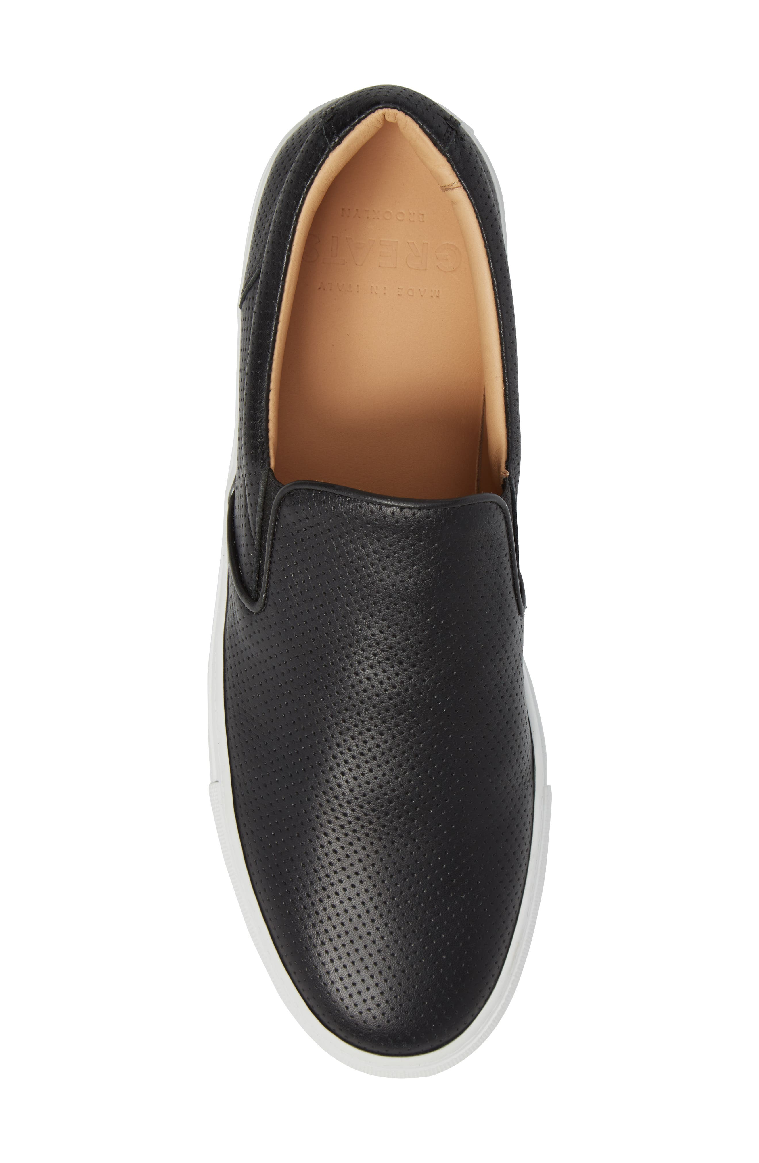 Wooster Slip-On Sneaker,                             Alternate thumbnail 5, color,                             BLACK PERFORATED LEATHER