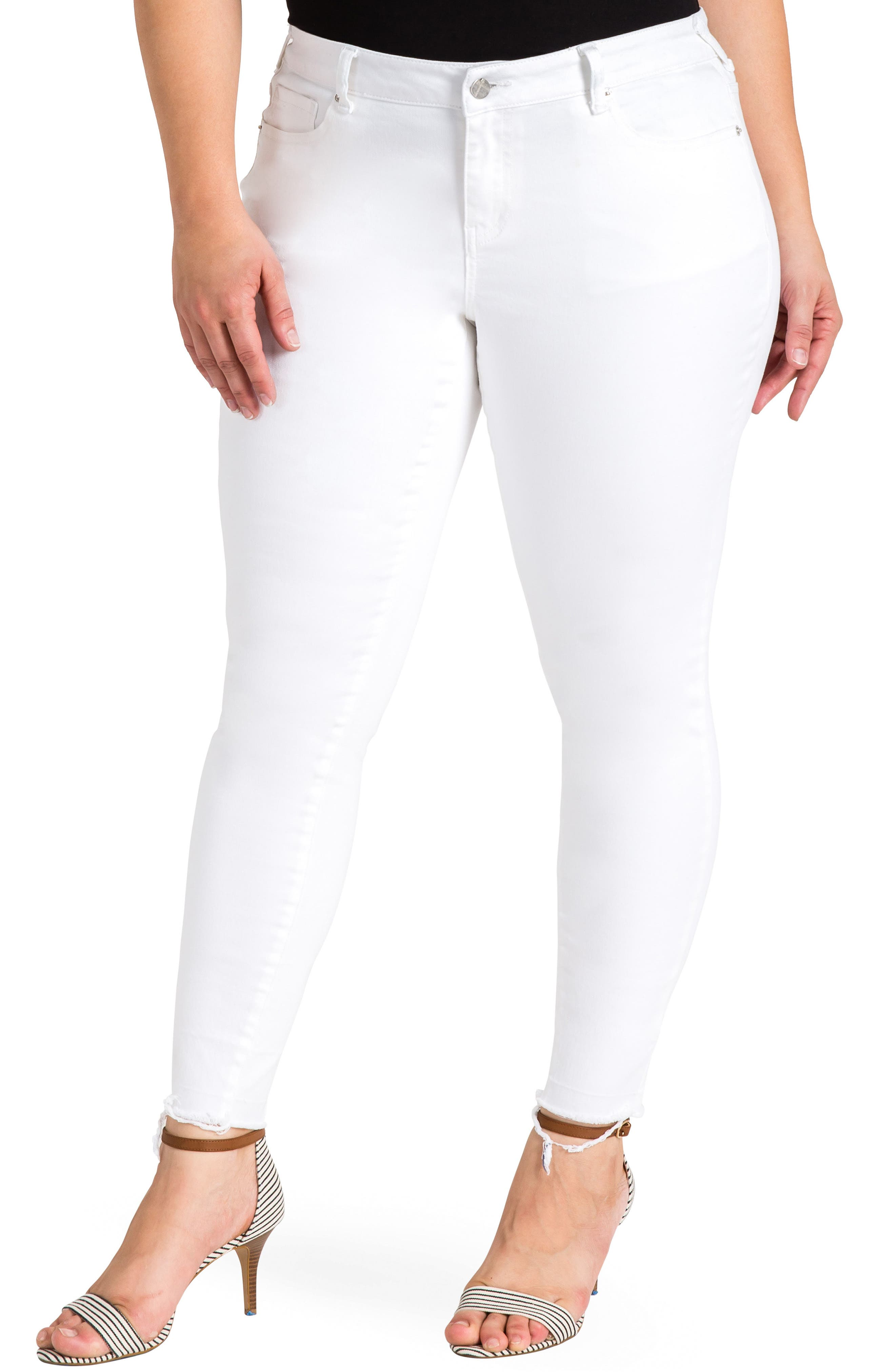 Virginia Ankle Skinny Jeans,                             Main thumbnail 1, color,                             3087POWDERWT - WHITE