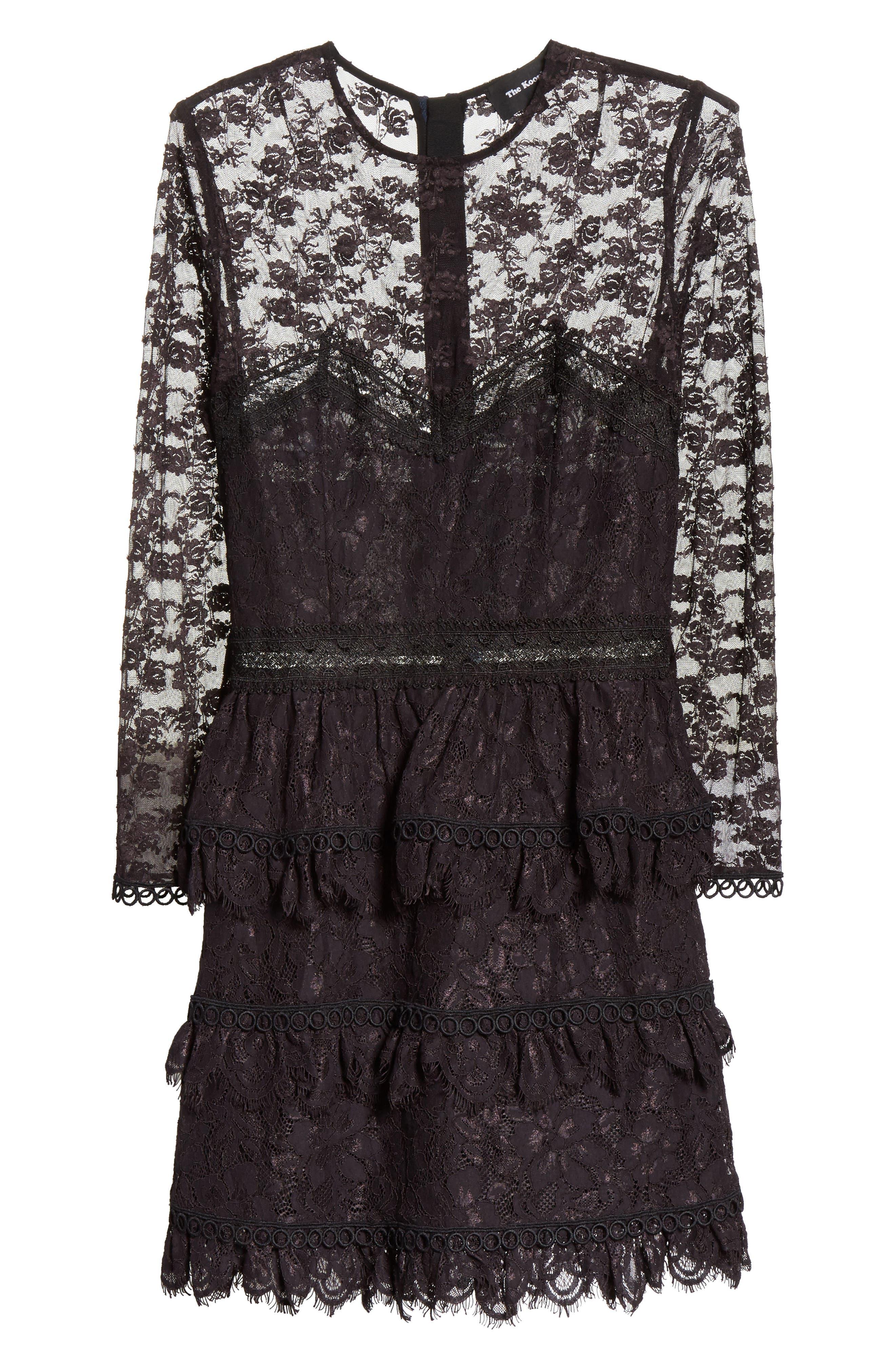 Floral Lace Dress,                             Alternate thumbnail 6, color,                             001