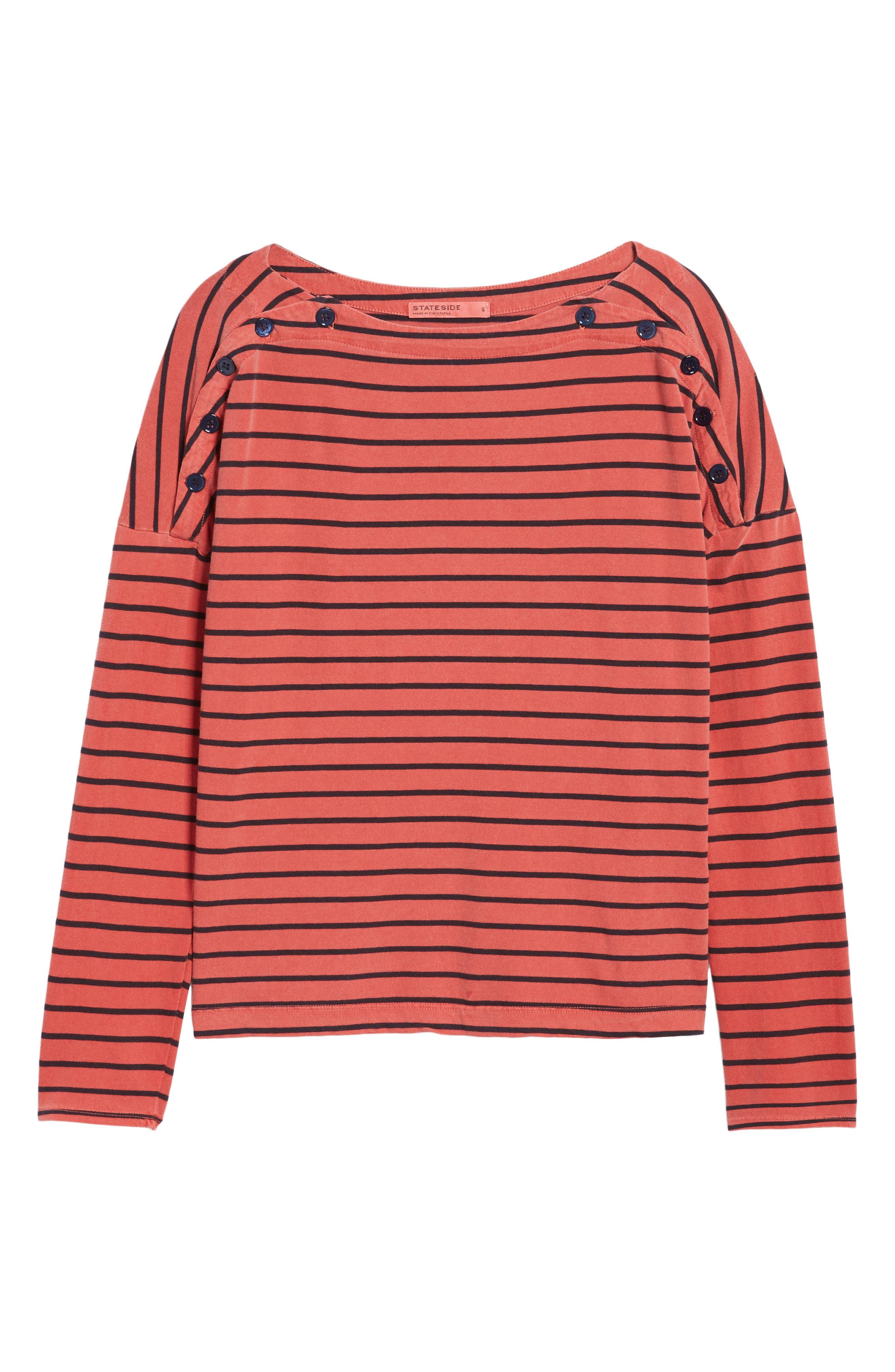 Stripe Button Tee,                             Alternate thumbnail 12, color,