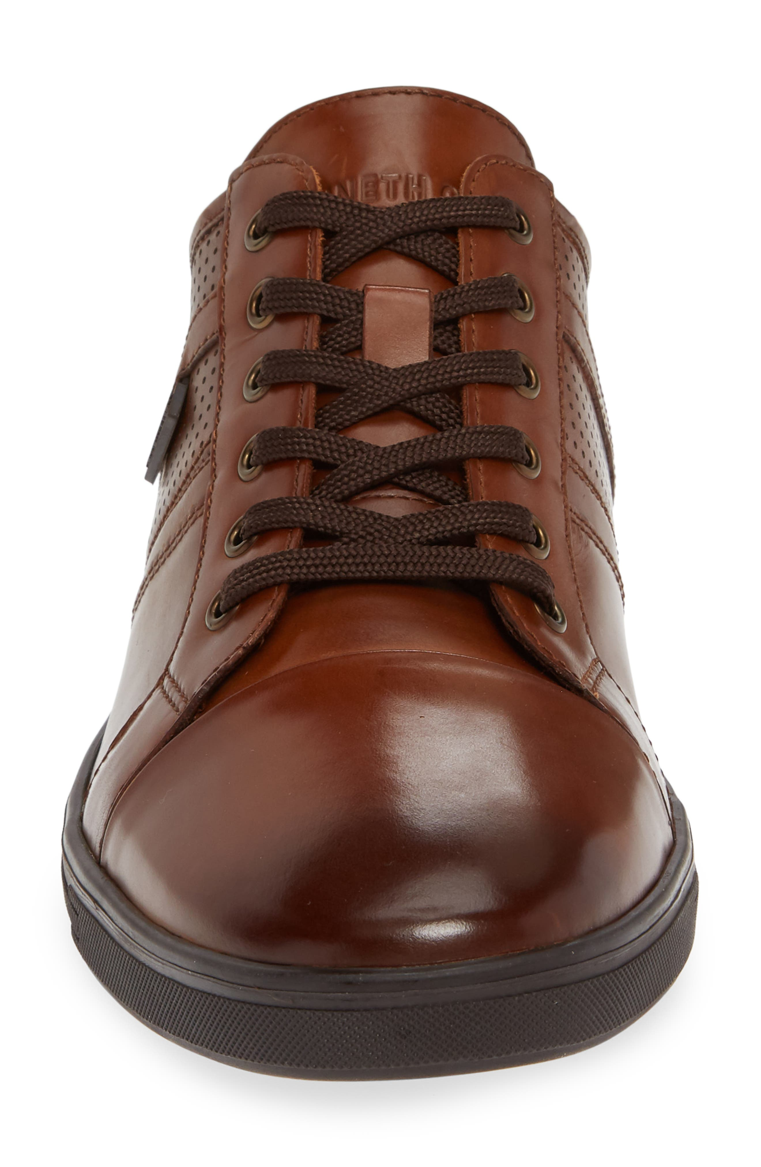 Initial Step Sneaker,                             Alternate thumbnail 4, color,                             COGNAC LEATHER