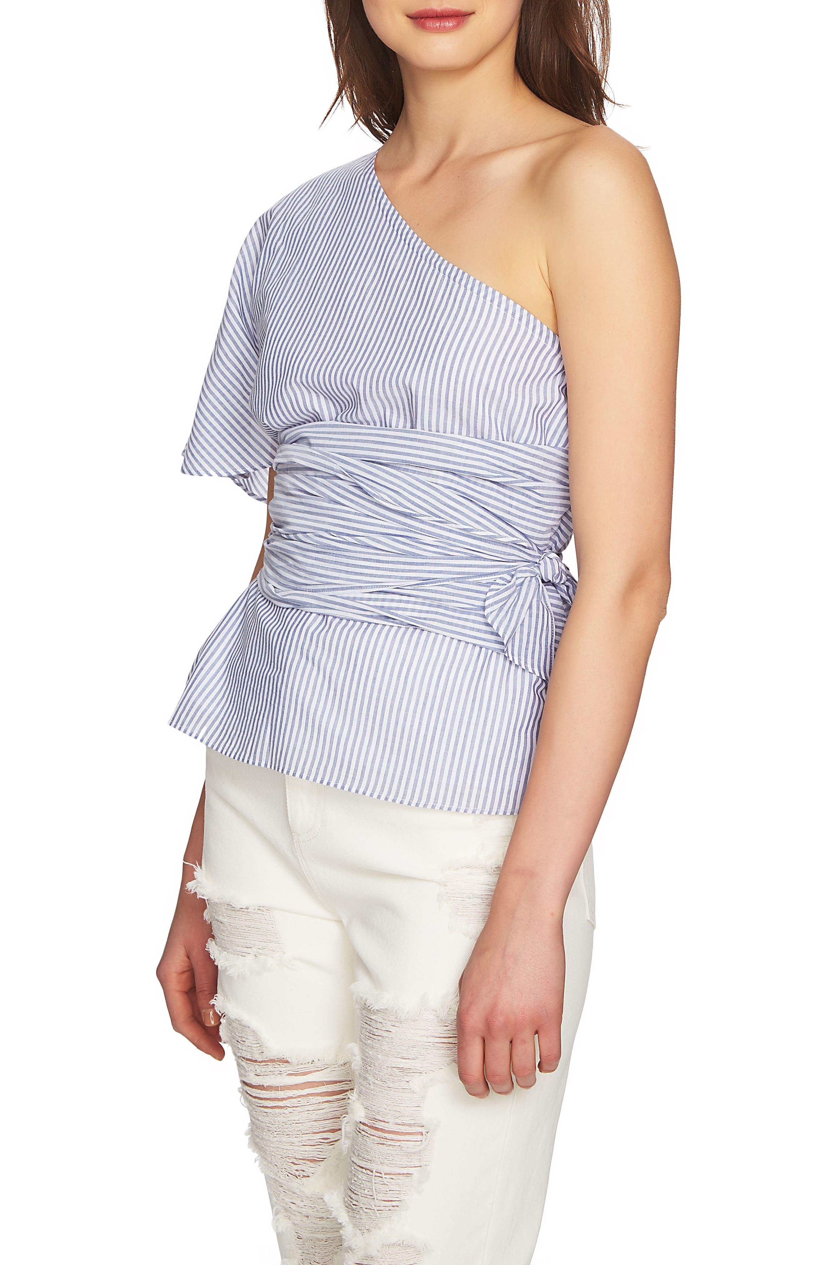Tie Waist One-Shoulder Blouse,                             Alternate thumbnail 3, color,                             HARBOR LIGHT