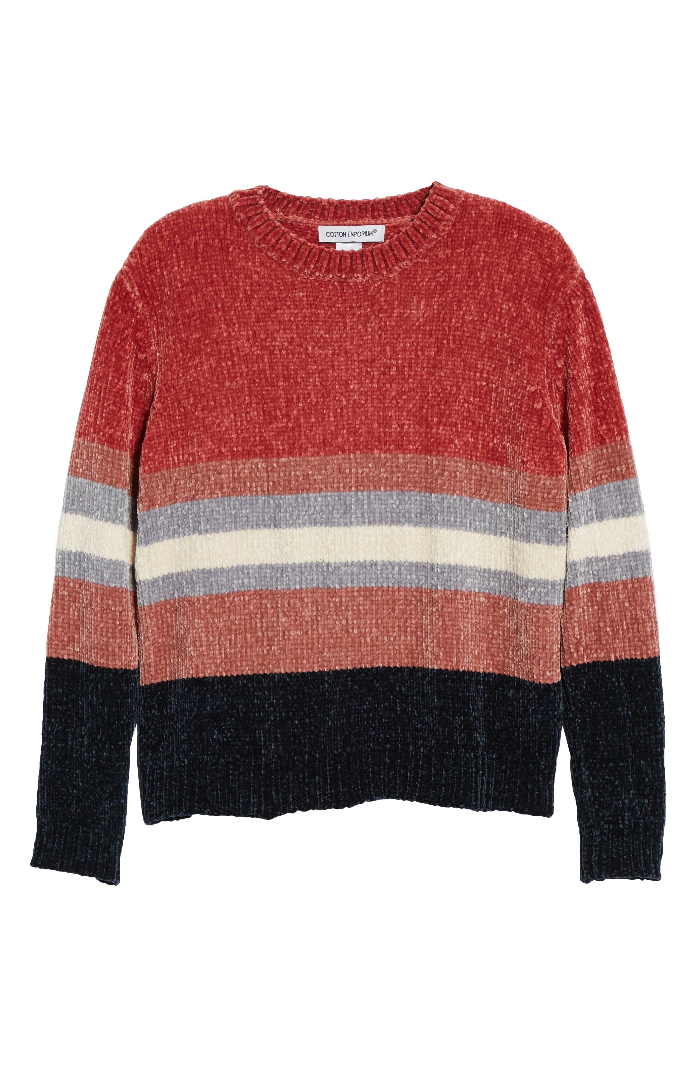 Stripe Chenille Sweater,                             Alternate thumbnail 6, color,                             PINK