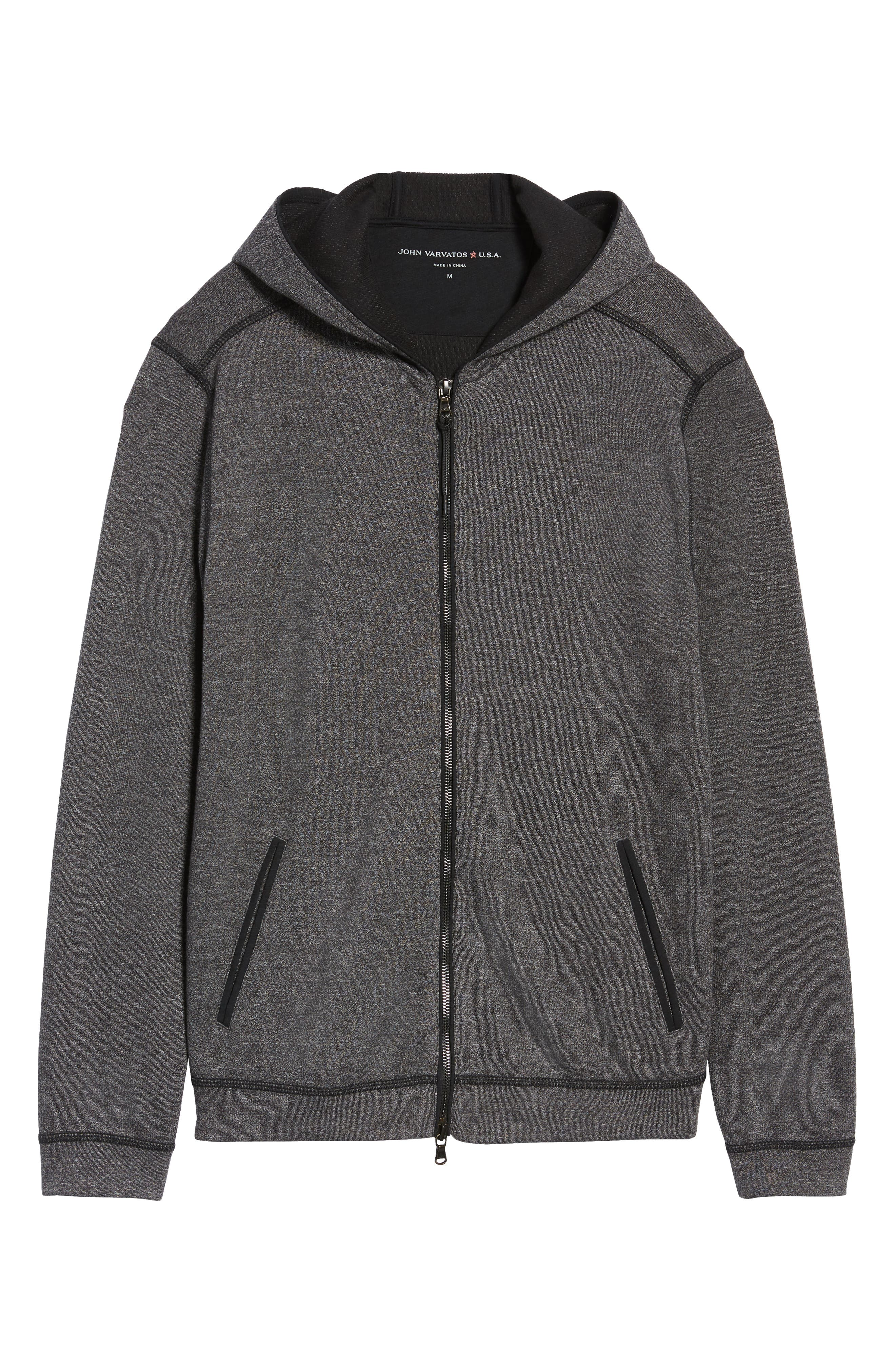 Doubleknit Zip Hoodie,                             Alternate thumbnail 6, color,                             CHARCOAL HEATHER