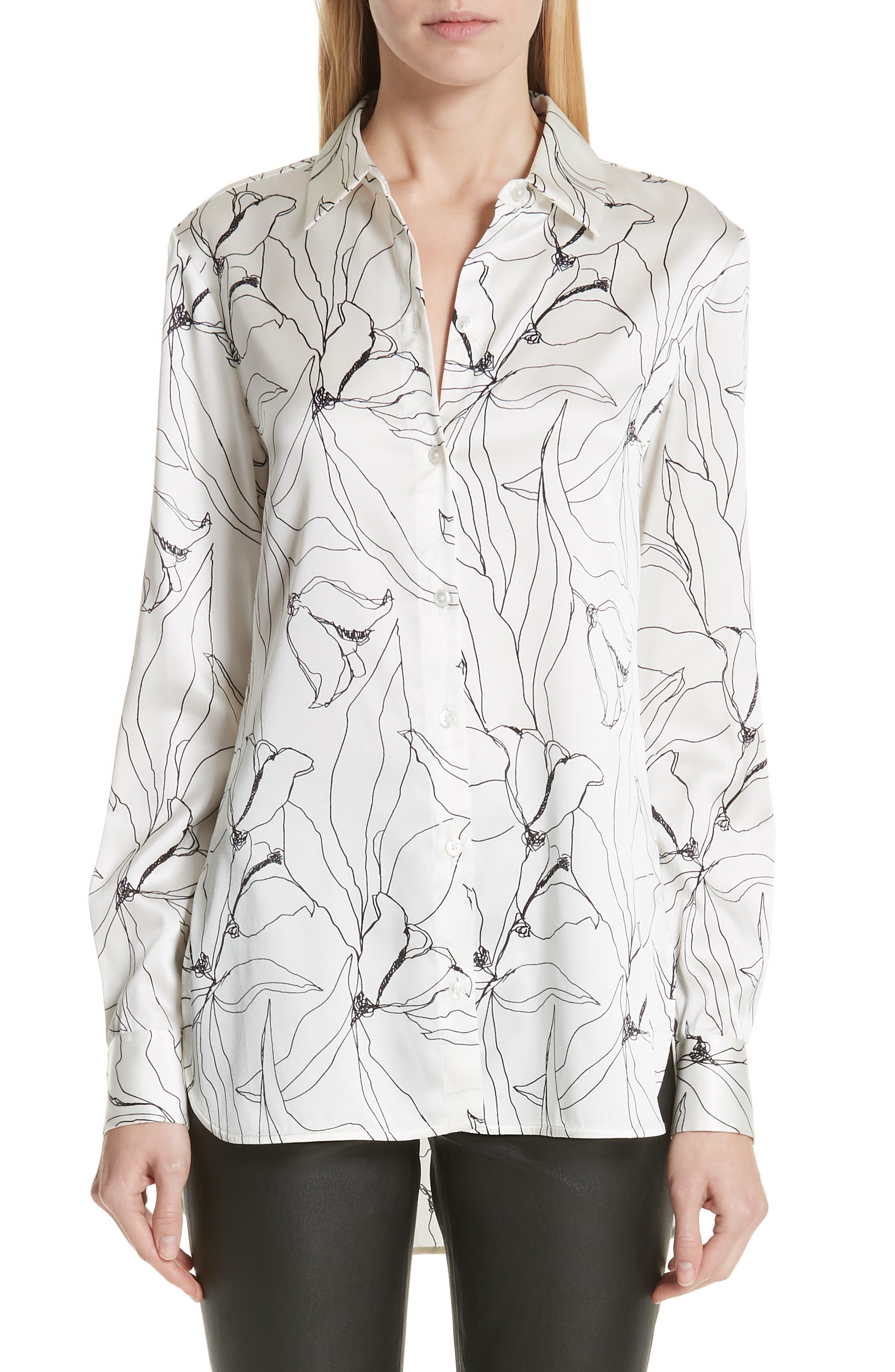 ST. JOHN COLLECTION,                             Artisanal Floral Stretch Silk Blouse,                             Main thumbnail 1, color,                             CREAM/ CAVIAR