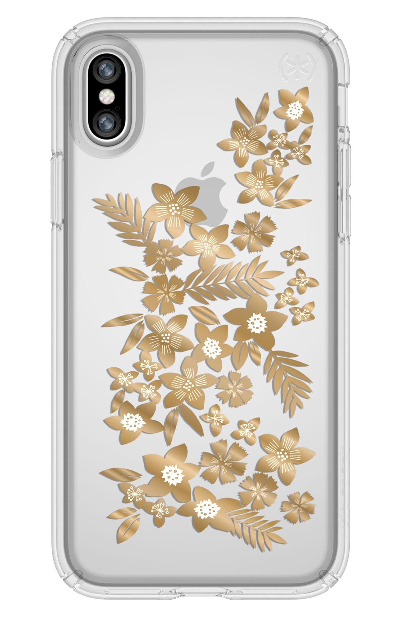 Shimmer Metallic Floral Transparent iPhone X & Xs Case,                             Main thumbnail 1, color,                             SHIMMER FLORAL METALLIC/ CLEAR