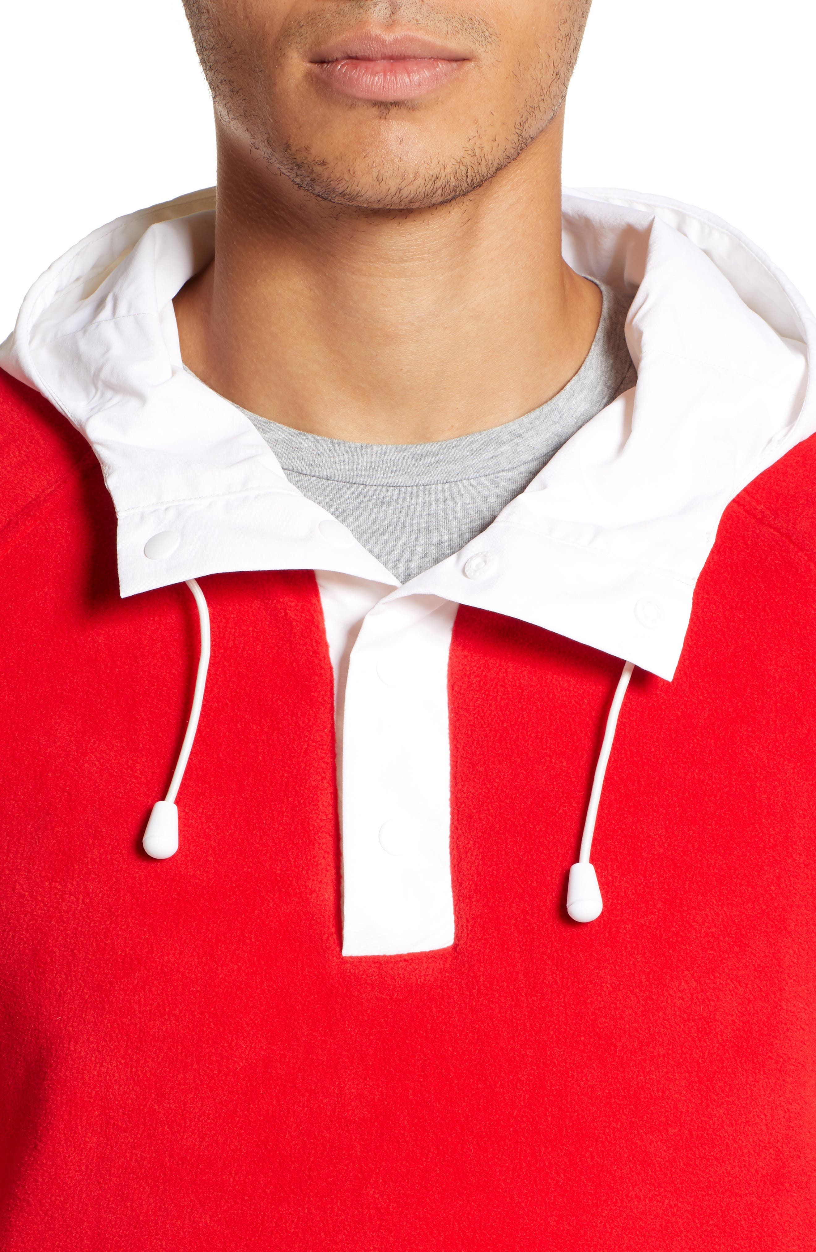Honnold Colorblock Fleece Pullover Hoodie,                             Alternate thumbnail 4, color,                             MARS RED