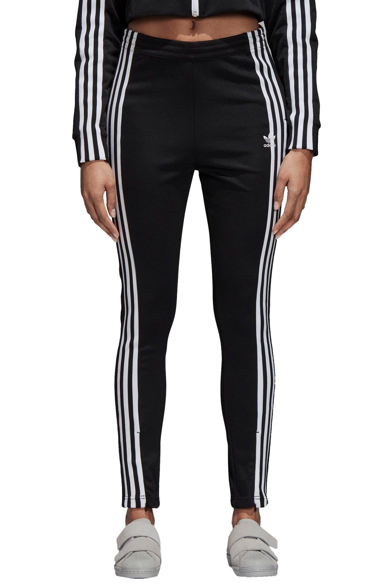 adidas 3 Stripe Track Pants,                             Main thumbnail 1, color,                             BLACK