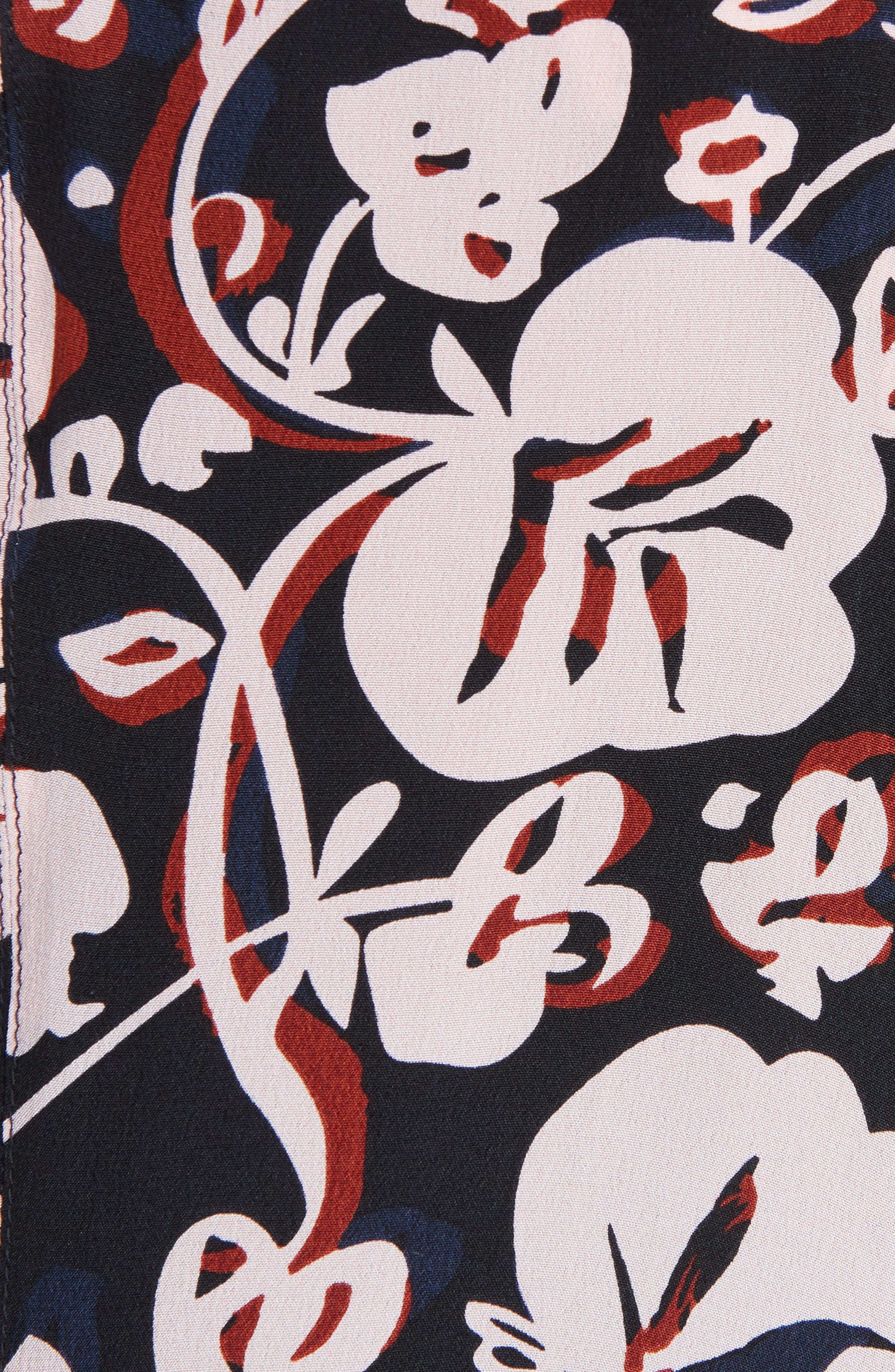 Print Silk Handkerchief Hem Dress,                             Alternate thumbnail 5, color,                             684