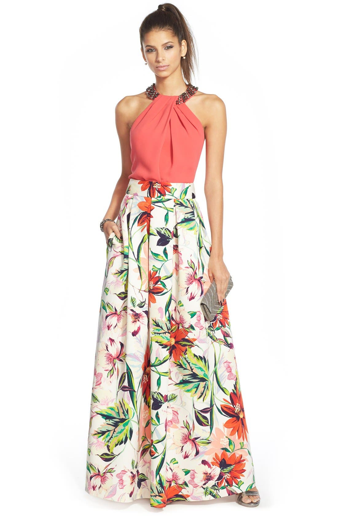 ELIZA J,                             Floral Print Faille Ball Skirt,                             Alternate thumbnail 3, color,                             831
