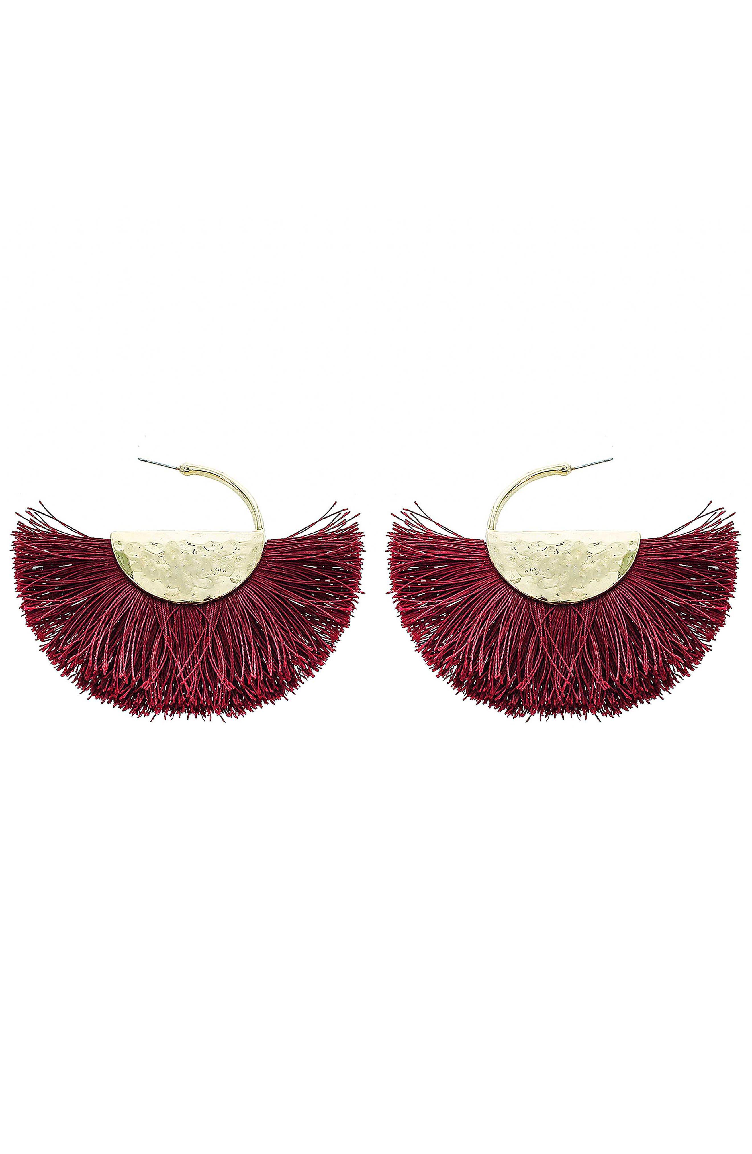 PANACEA Fringe Fan Earrings in Brown