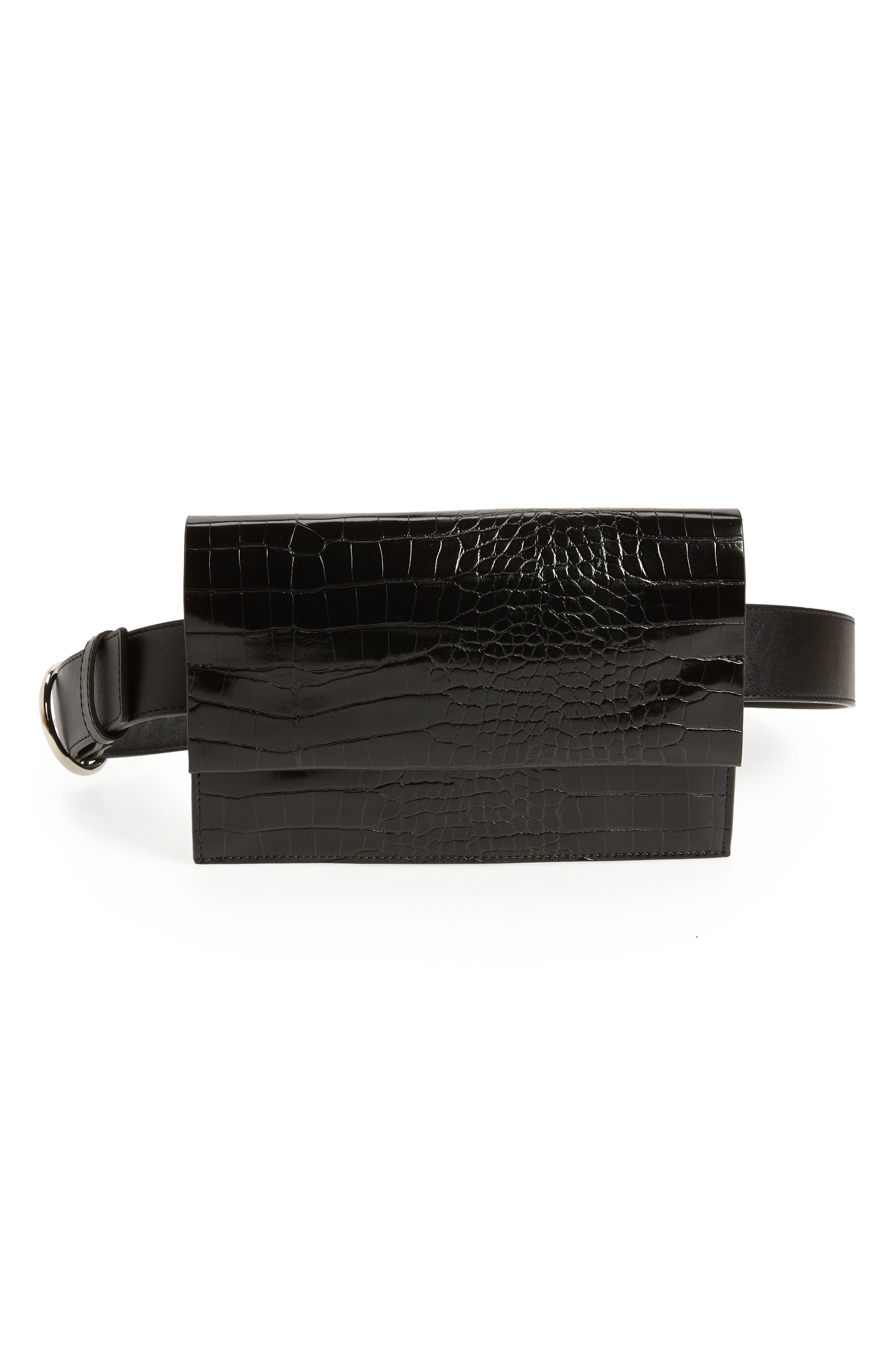 Halogen Croc Embossed Faux Leather Belt Bag, Black