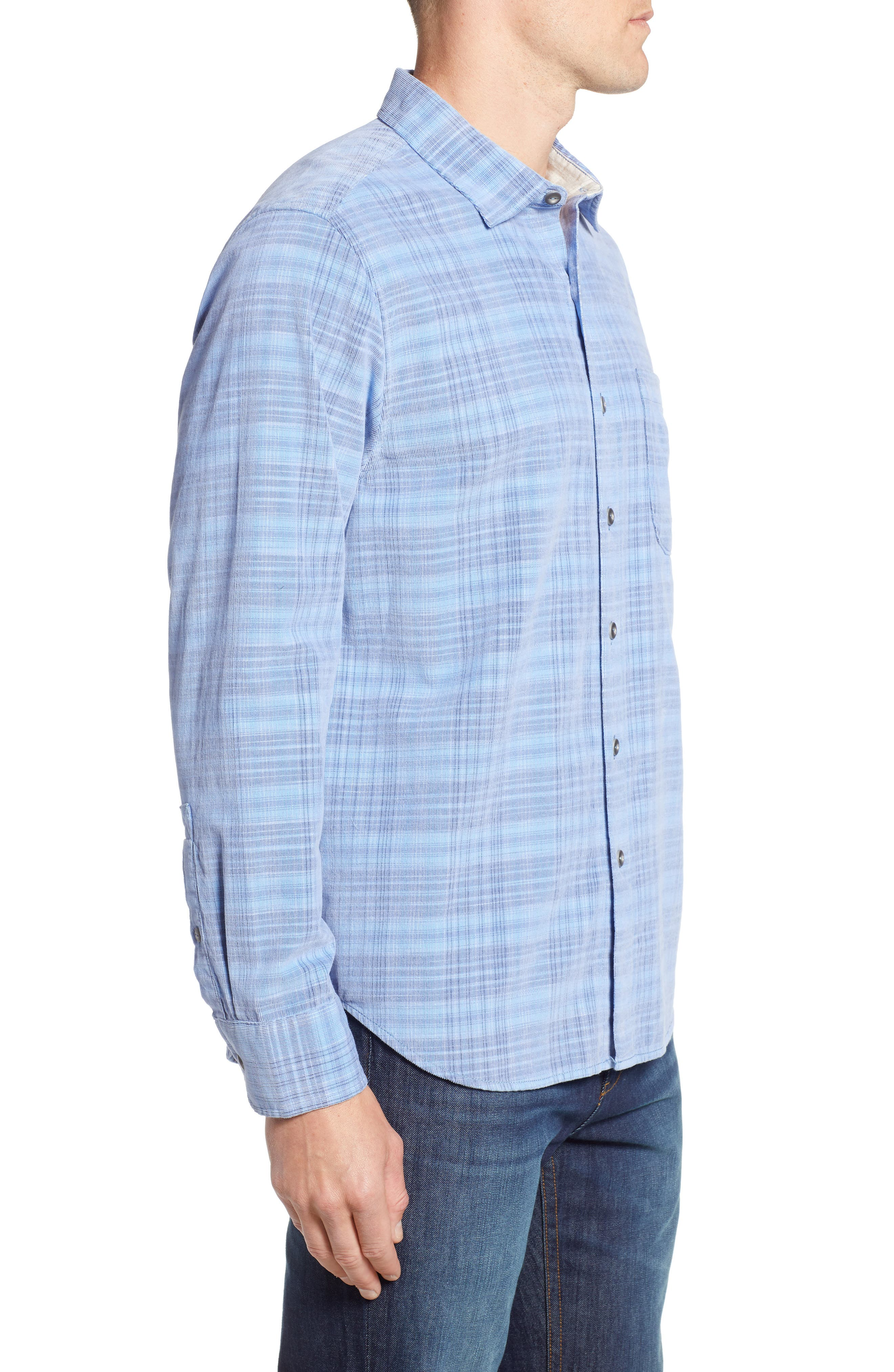 Cruzy Plaid Corduroy Sport Shirt,                             Alternate thumbnail 3, color,                             RIVIERA AZURE