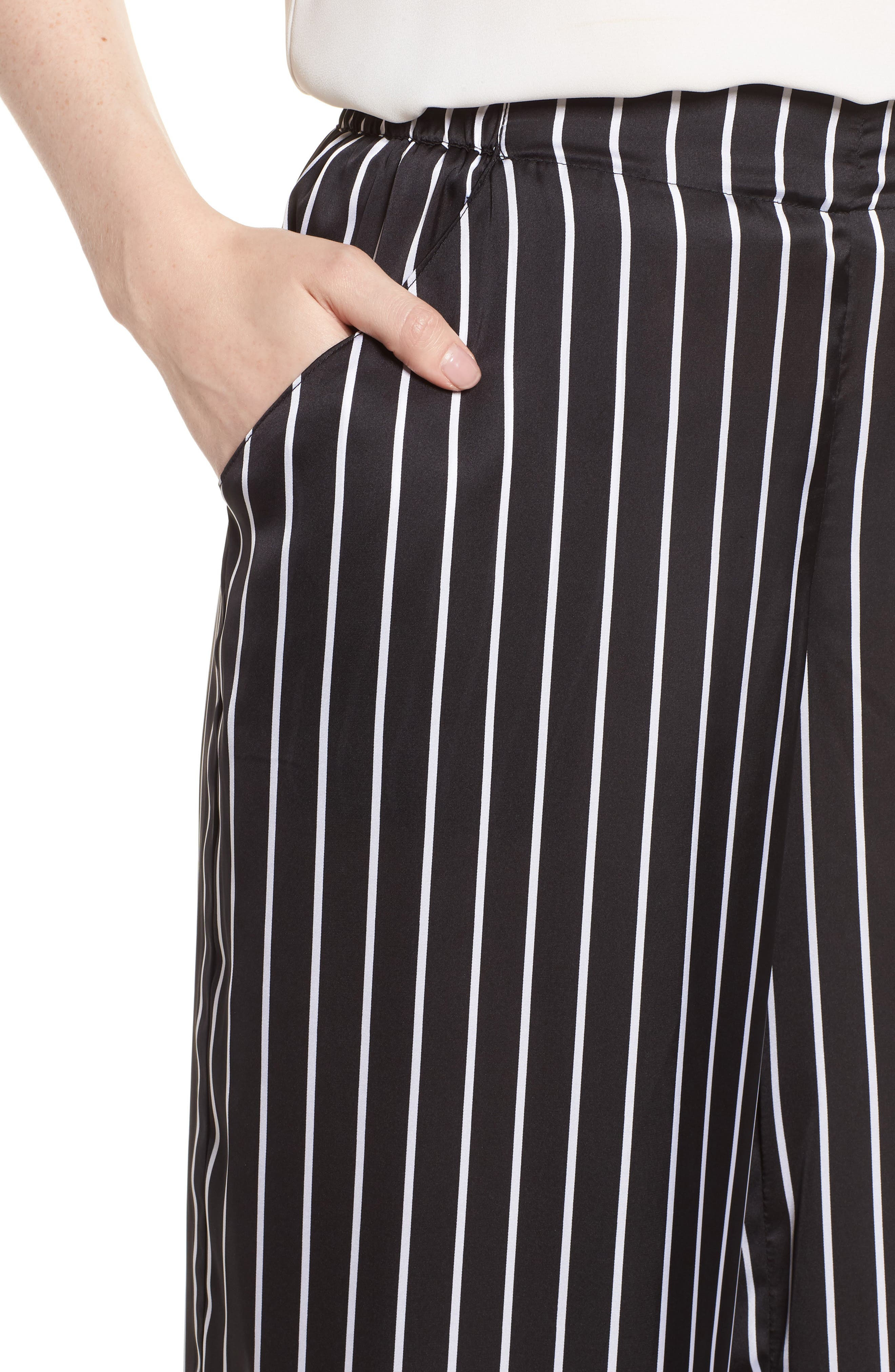 Kenneth Cole Wide Leg Pants,                             Alternate thumbnail 4, color,                             STREET STRIPE BLACK