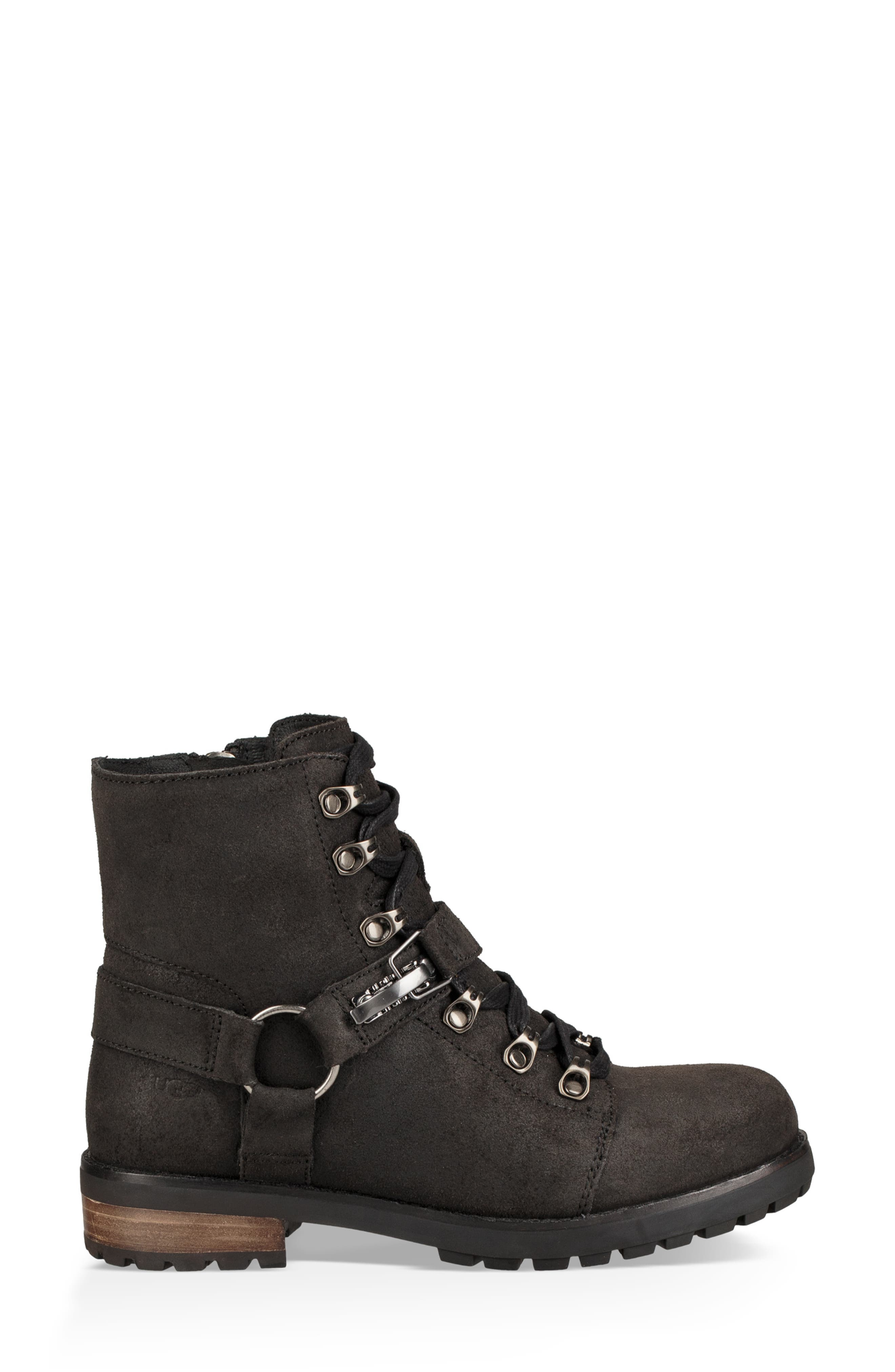 Fritzi Water Resistant Lace-Up Bootie,                             Alternate thumbnail 3, color,                             BLACK LEATHER