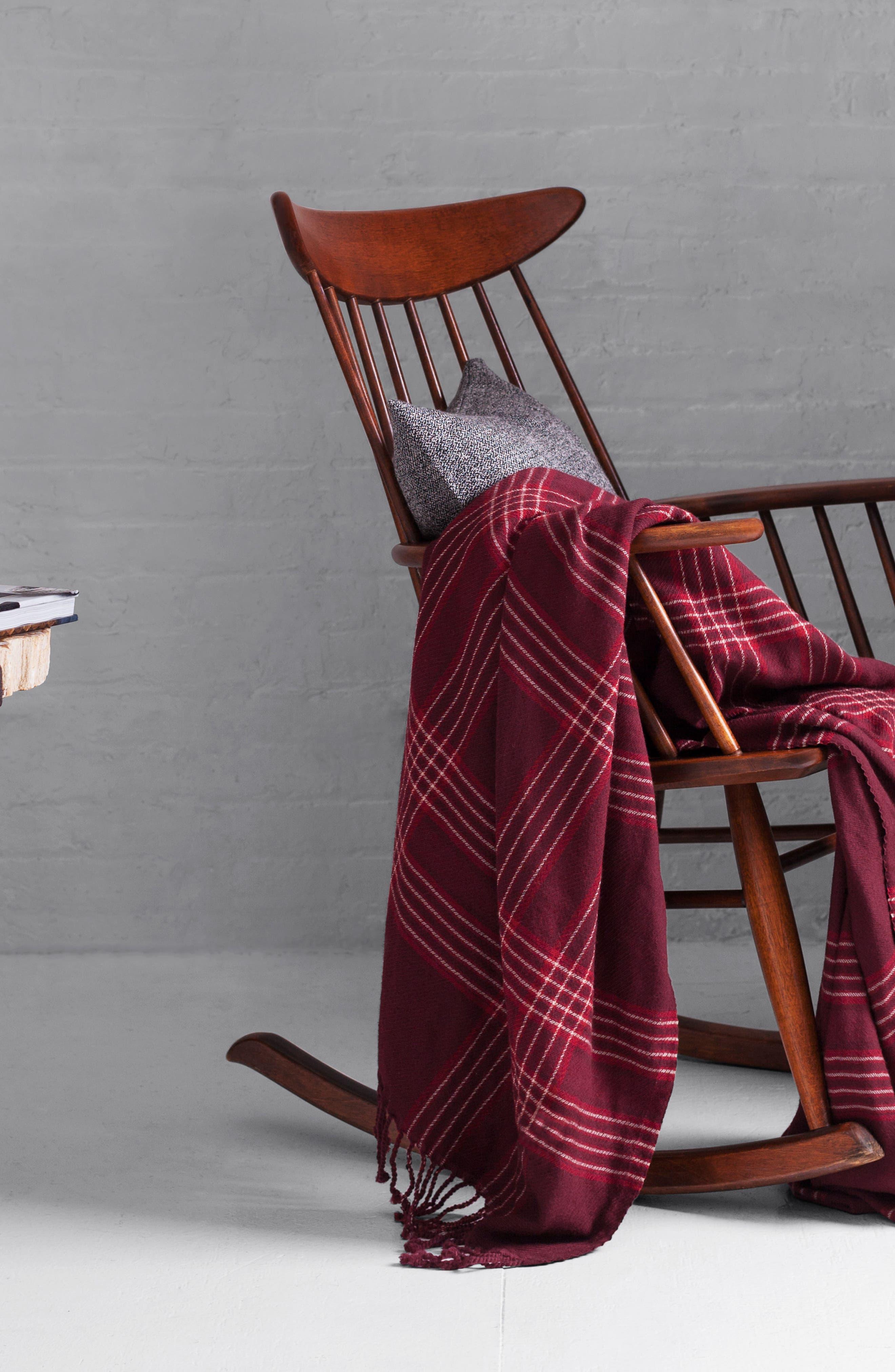 Windowpane Double Face Merino Wool Throw,                             Alternate thumbnail 4, color,                             RASPBERRY WINDOWPANE