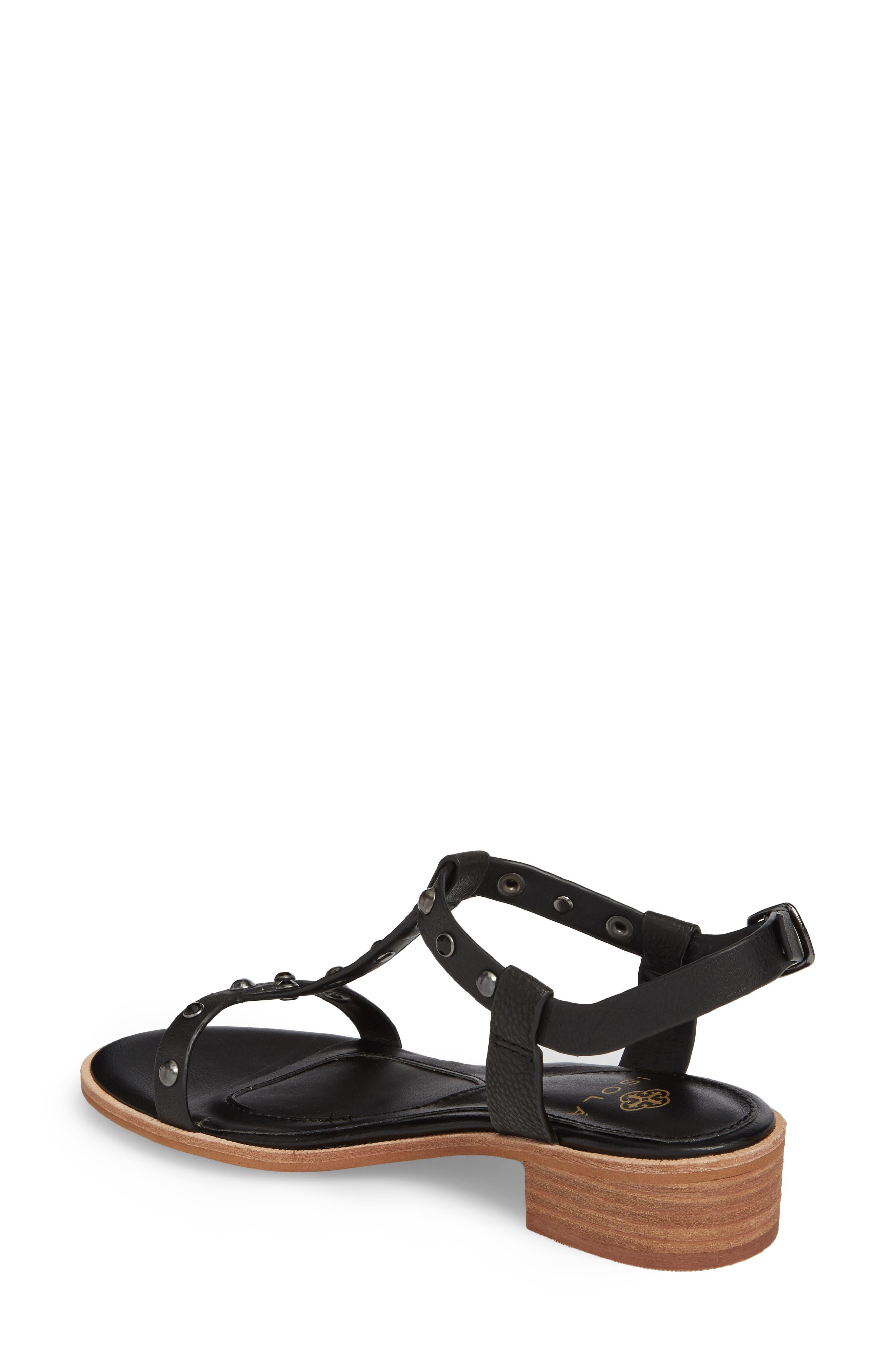 Giana Studded Sandal,                             Alternate thumbnail 2, color,                             BLACK LEATHER